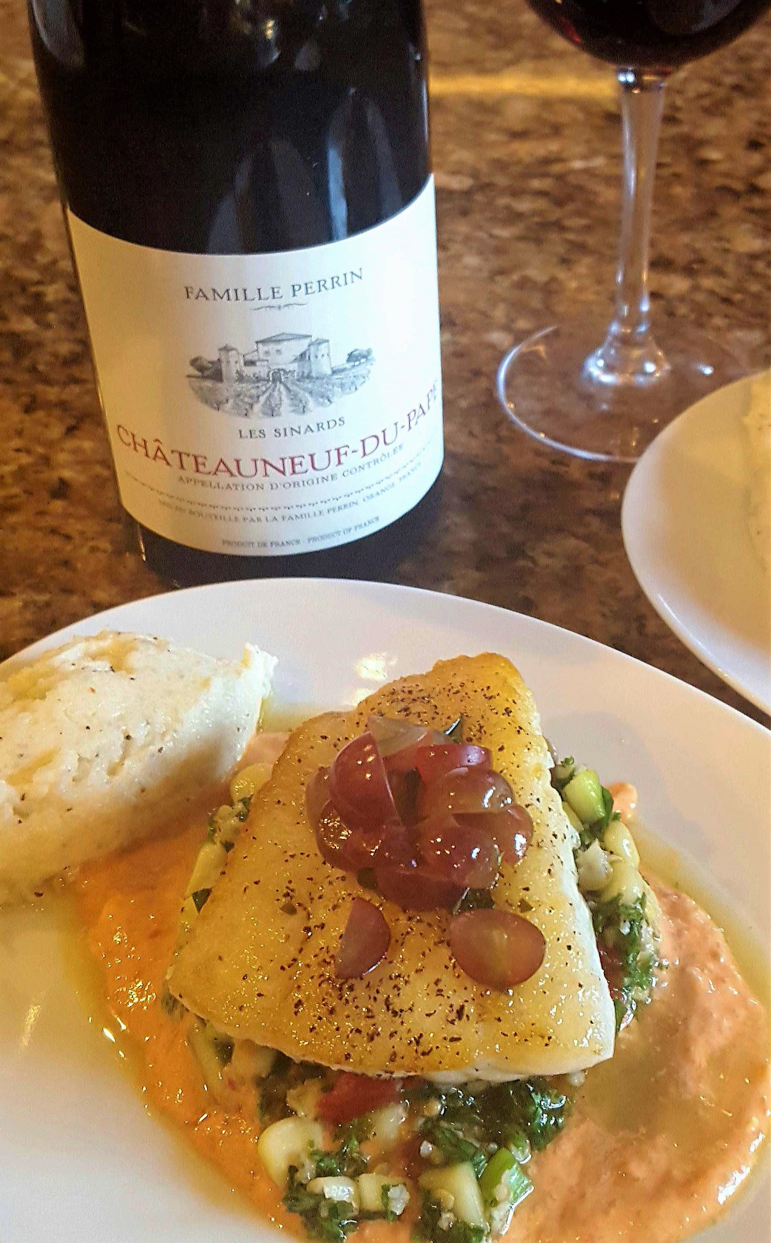 Menu items at 3 Palms Grille will include pan seared local flounder with quinoa taboule, roasted pepper hummus, lemon oil and pickled grapes.