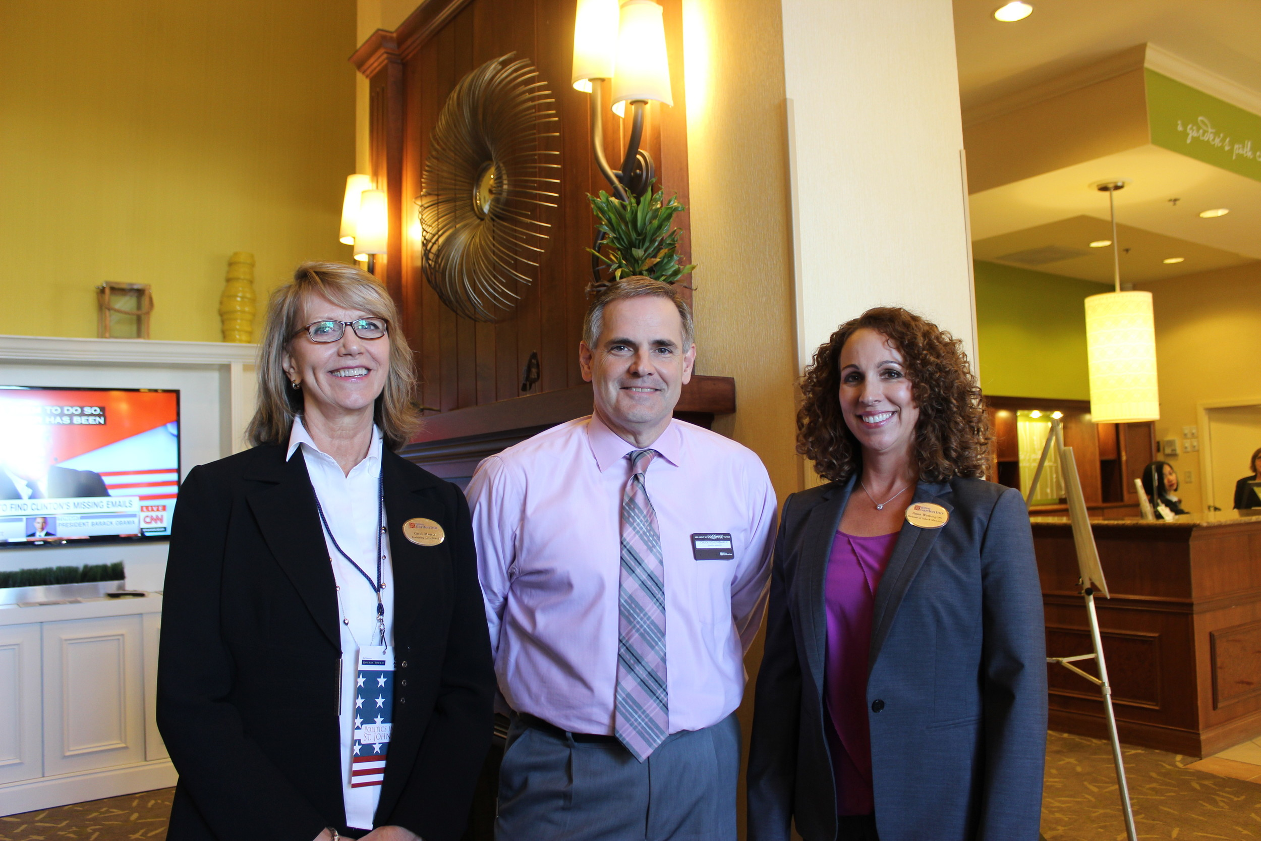 Carol Maurer, Chuck Schoonmaker and Anna Washington of the Hilton Garden Inn