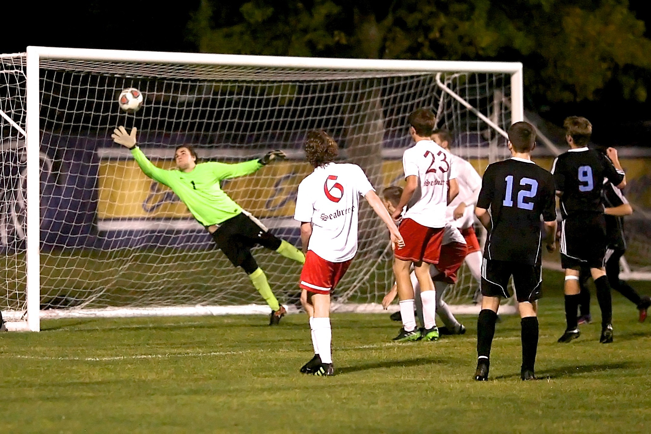 The Seabreeze keeper stretches to make a save on a Ponte Vedra shot.