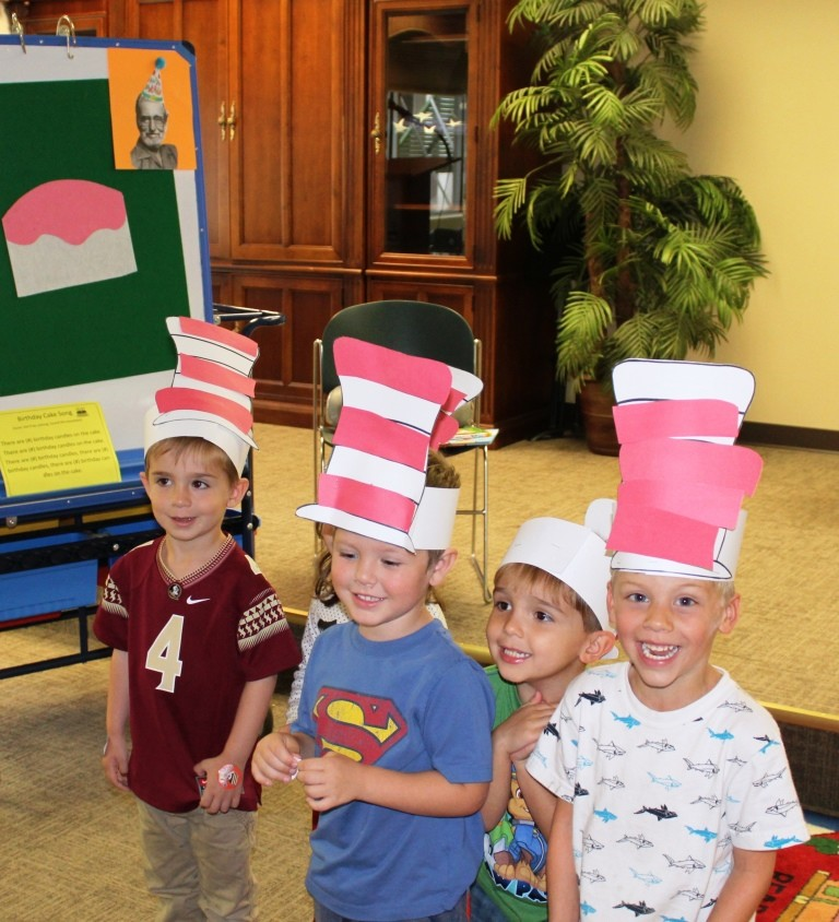 Celebrating Dr. Seuss's birthday at our Pre-K Storytime Class and making new friends!