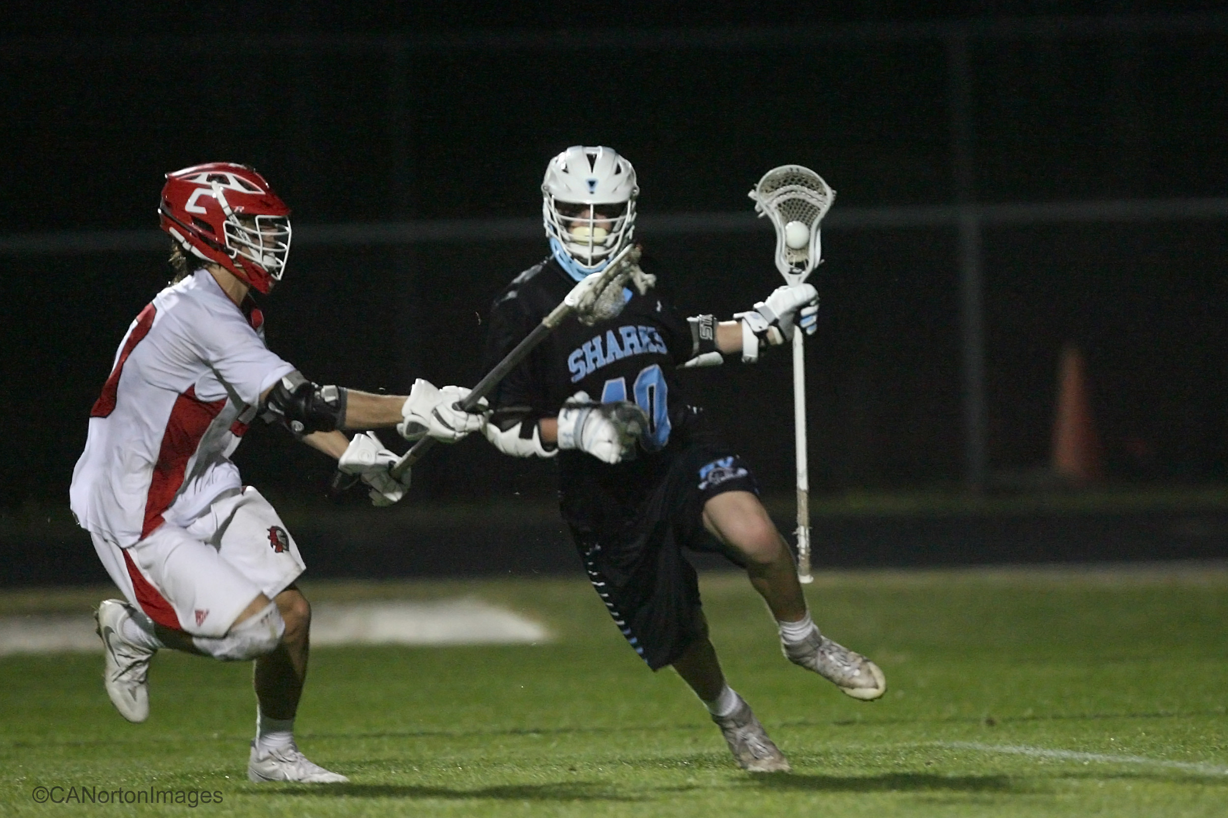 #40, Dylan Hess of Ponte Vedra drives past a Knight defender.