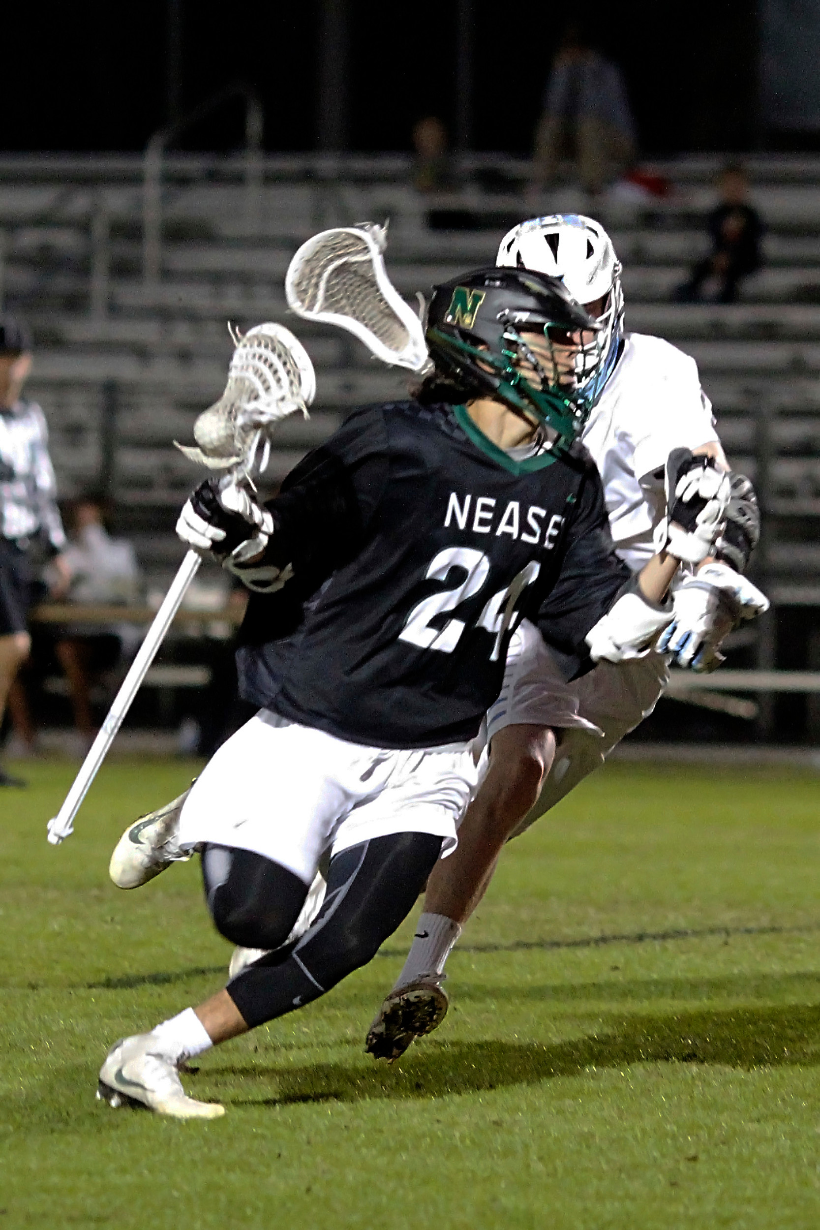 Nease's Grant Kettering is set to drive the ball on the Ponte Vedra goal.