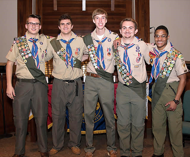 Troop 288 scouts Josh Frantz, Parker Shannon, Andrew Brown, Henry Curran and Victor Manly recently attained Boy Scouts' highest rank, achieving the prestigious Eagle Scout rank.