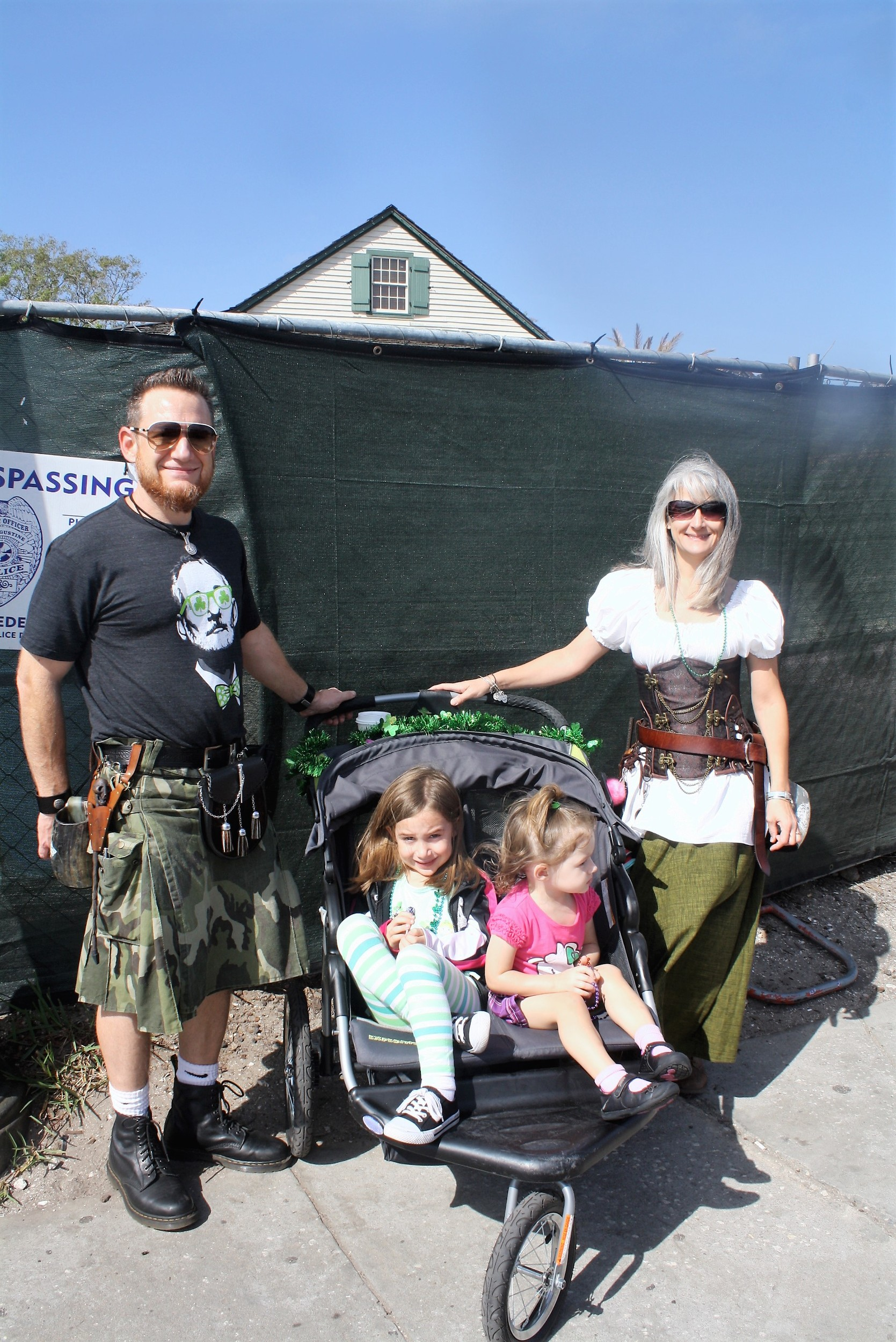 Josh and Tracy Sabotin traveled from Orlando with daughters Sophia and Natalie to view St. Augustine's St. Patrick's Day Parade.