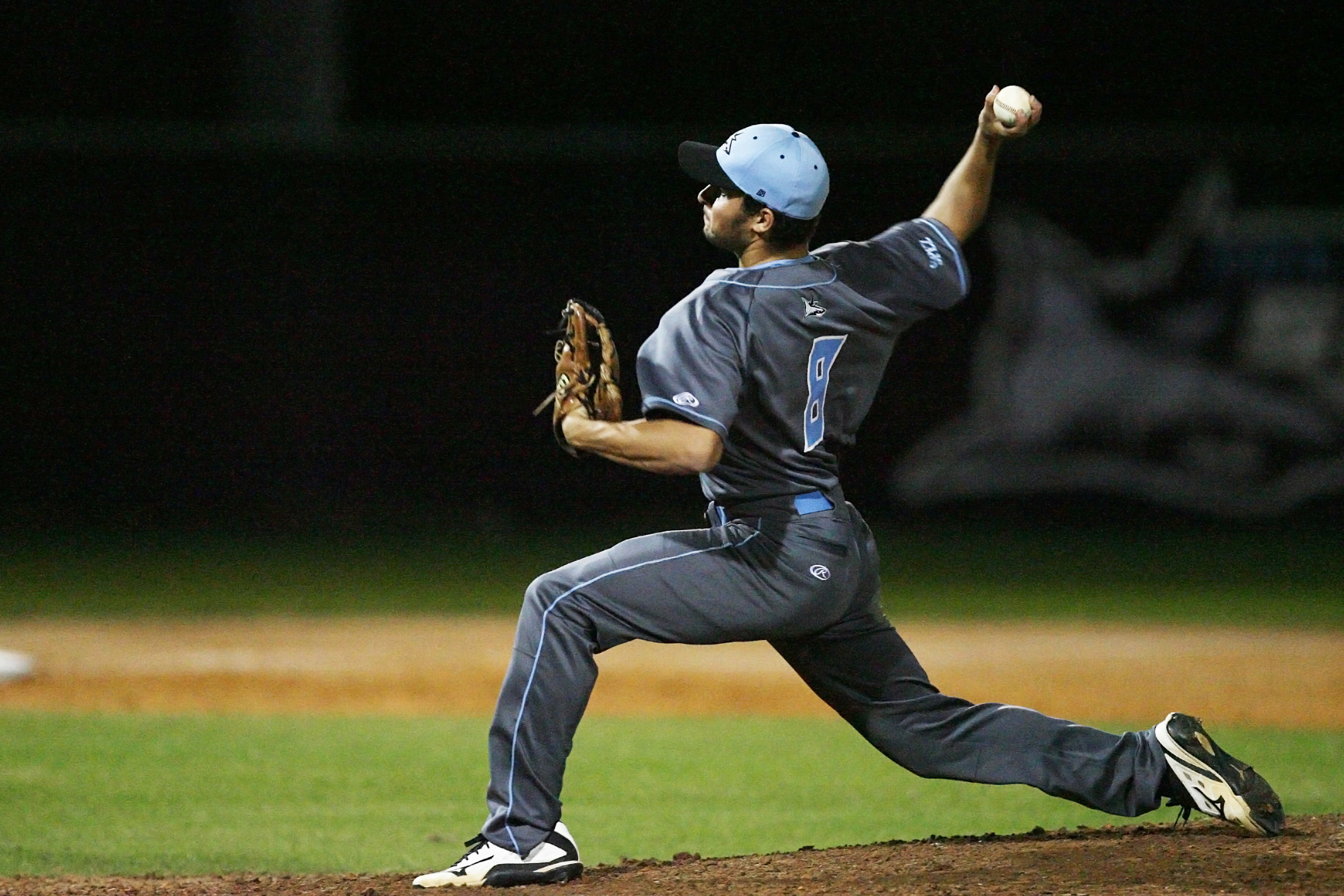 #8 Eric Aleman pitches for the Sharks against Nease