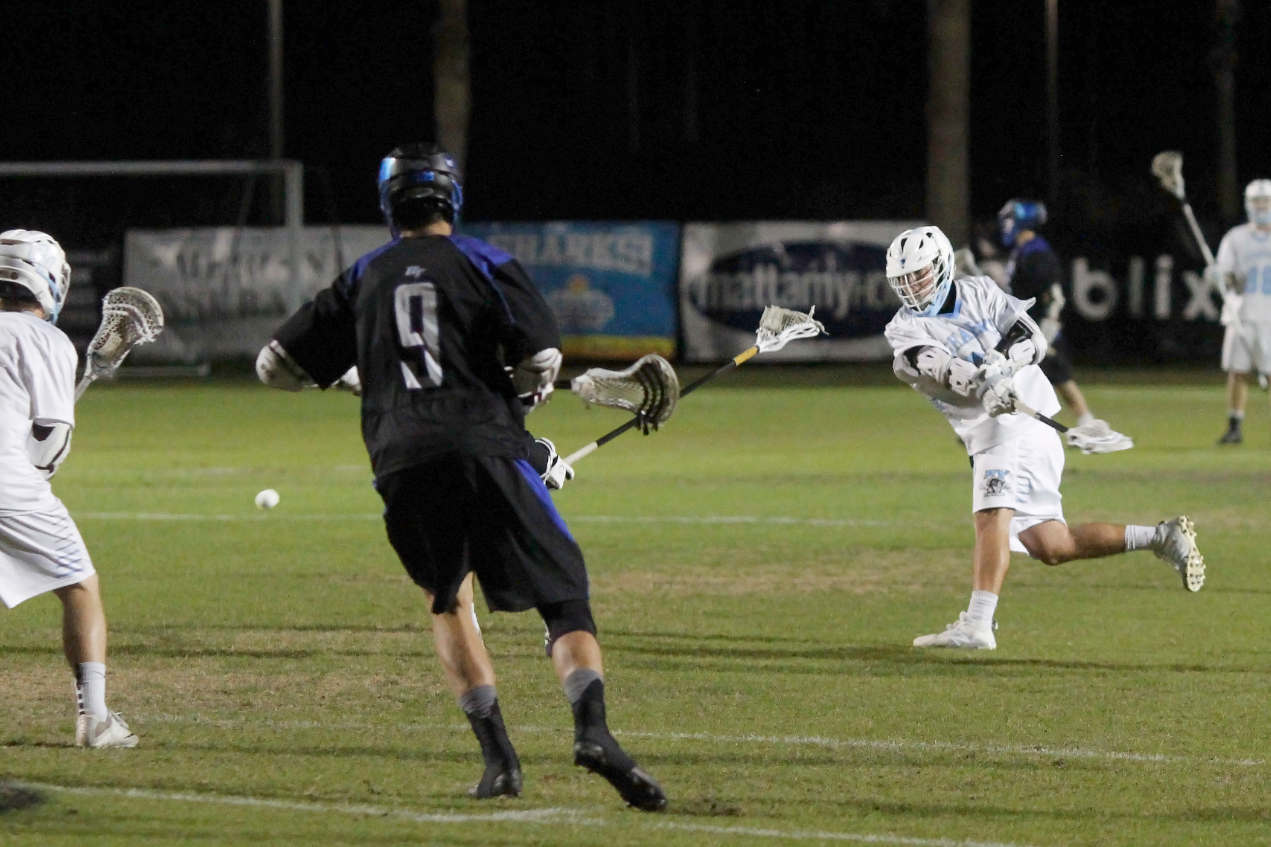 #24 Matt Keeler of the Sharks rips a low shot on the Bartram goal.