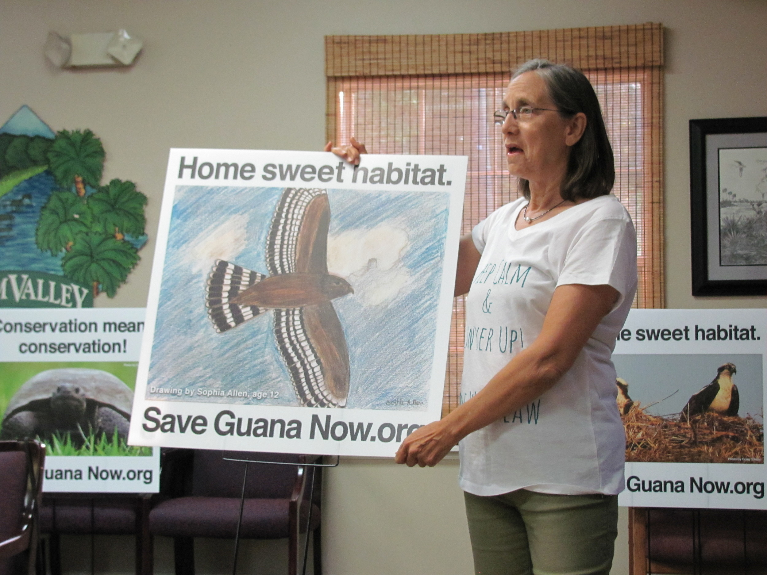 Save Guana Now Co-Founder Nicole Crosby addresses attendees at the organization's meeting last week. Must run