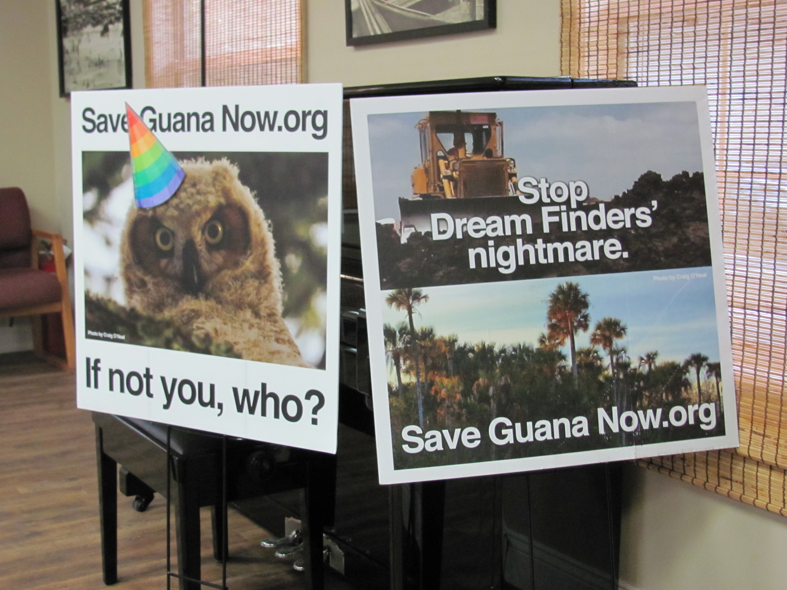 Save Guana Now is developing signage, T-shirts, bumper stickers, a video and press release to protest development.