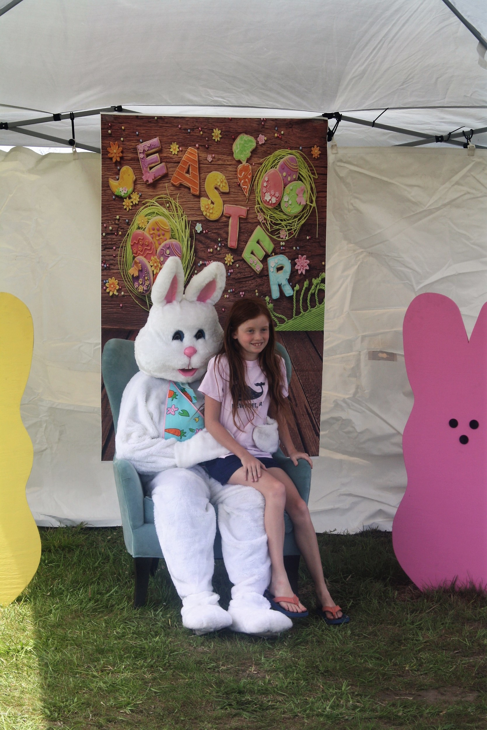 The Easter Bunny greets children at the Nocatee Farmers Market.