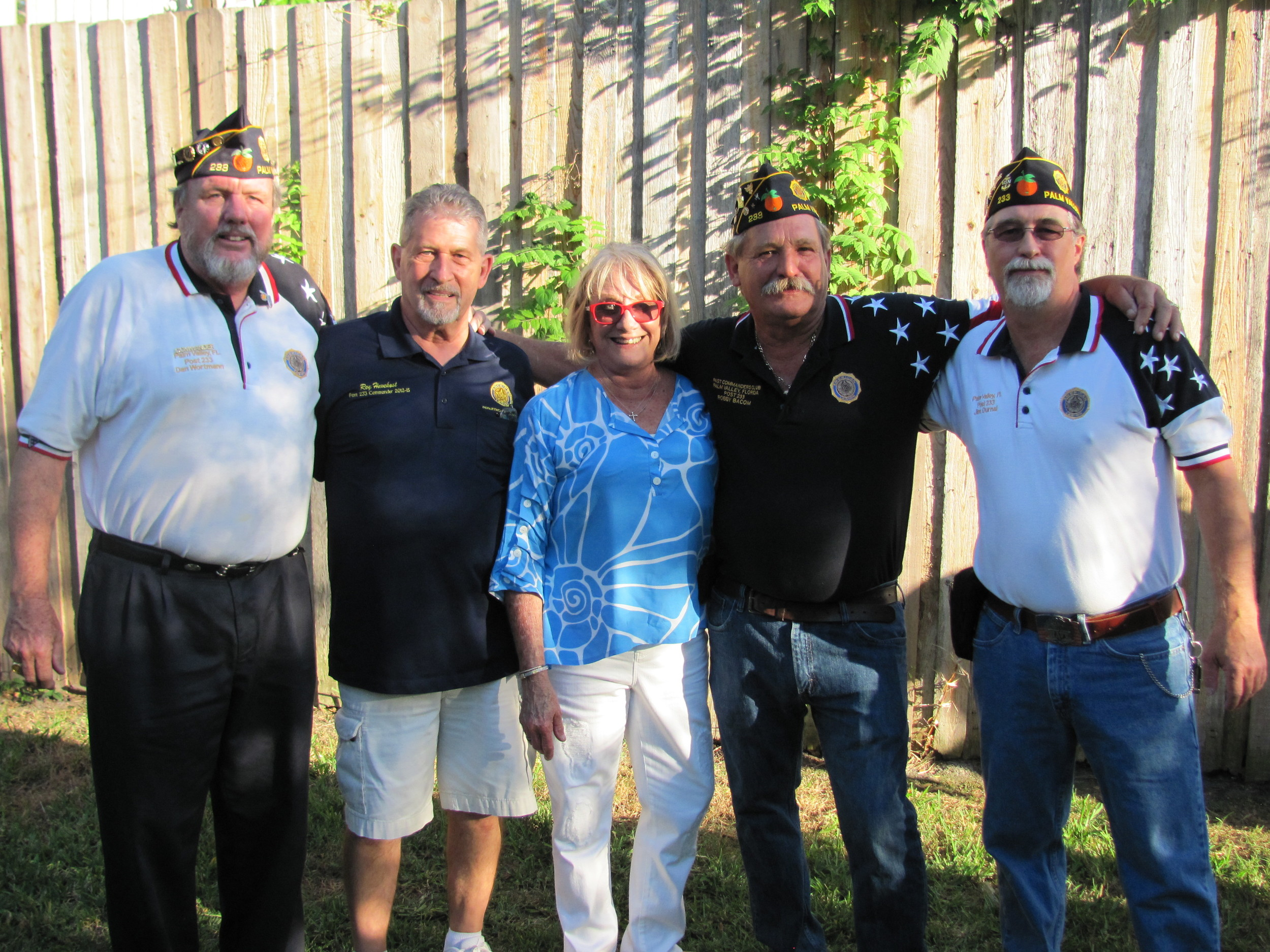K9s For Warriors Founder Shari Duval (center) with American Legion Post 233 representatives Dan Wortman, Roy Havekost, Robby Bacom and Jim DurnalIf space permits: