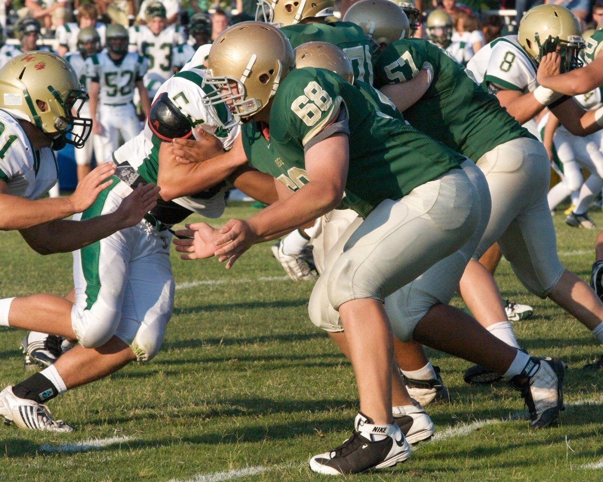Lucas Crowley #68 in action for the Panthers against Fleming Island.