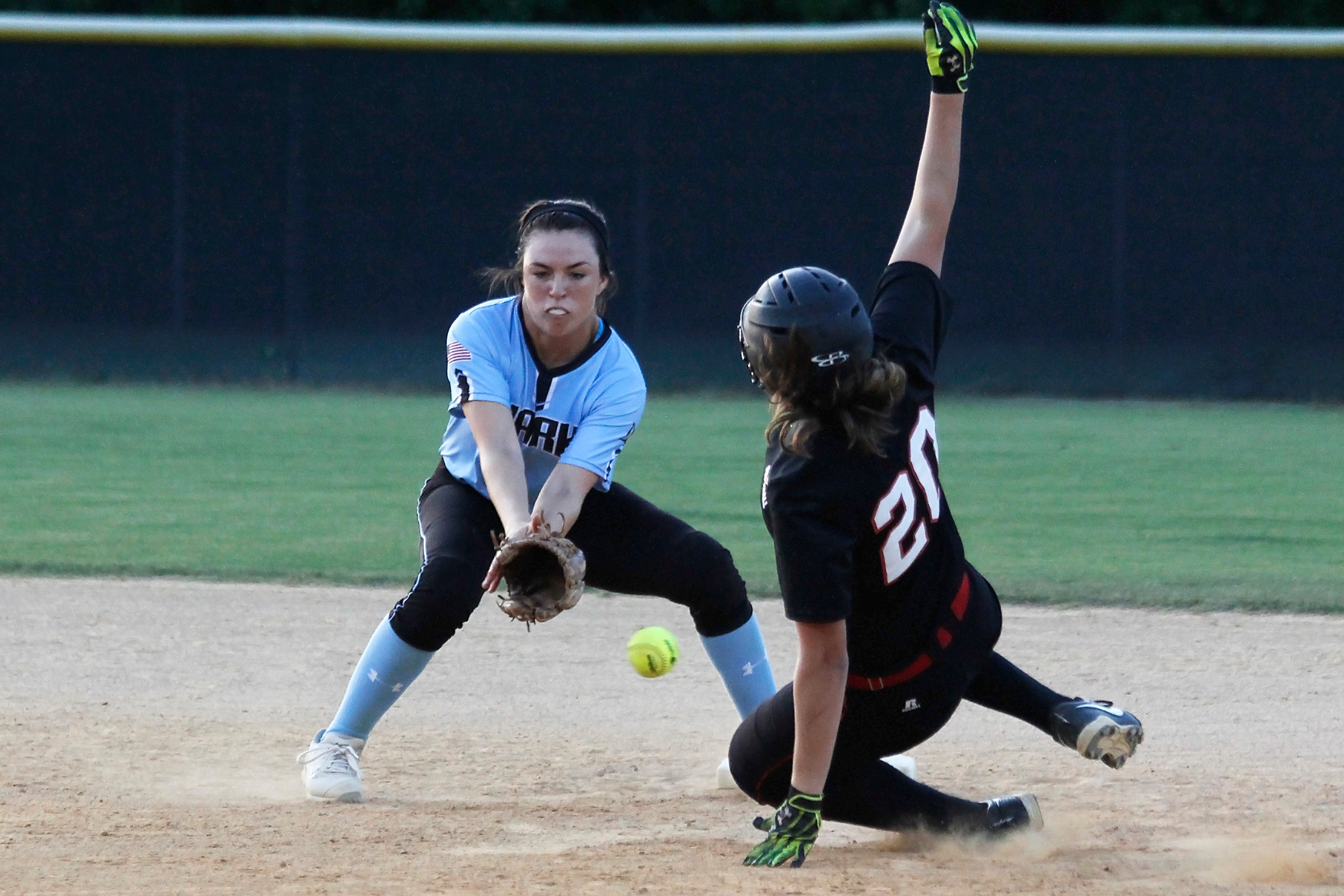 Shark shortstop Michelle Leone awaits the throw to on a Parker steal attempt