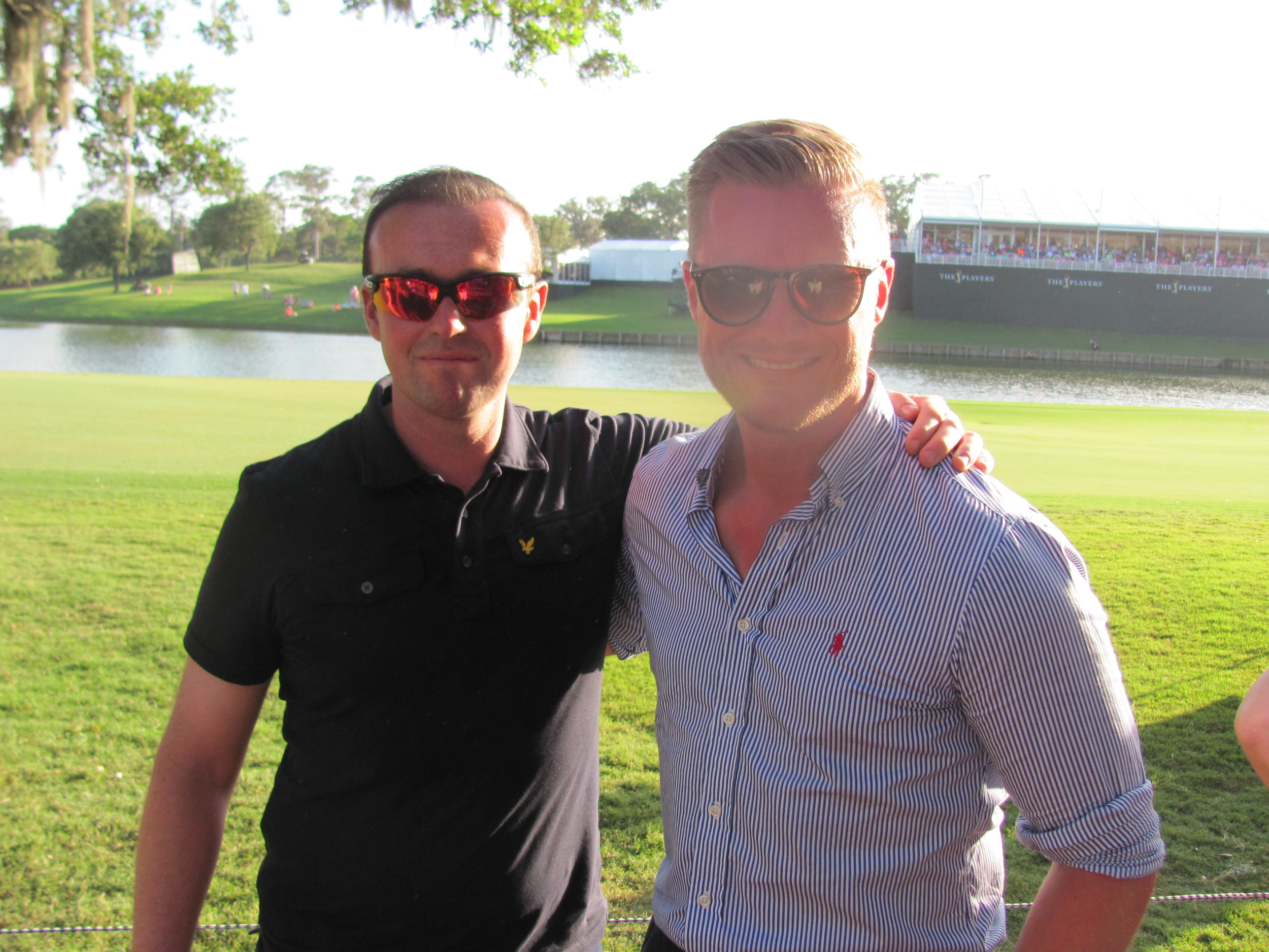 Mark Ellis and Neal Walker from England attend THE PLAYERS Championship for the first time after watching the tournament for years on TV.