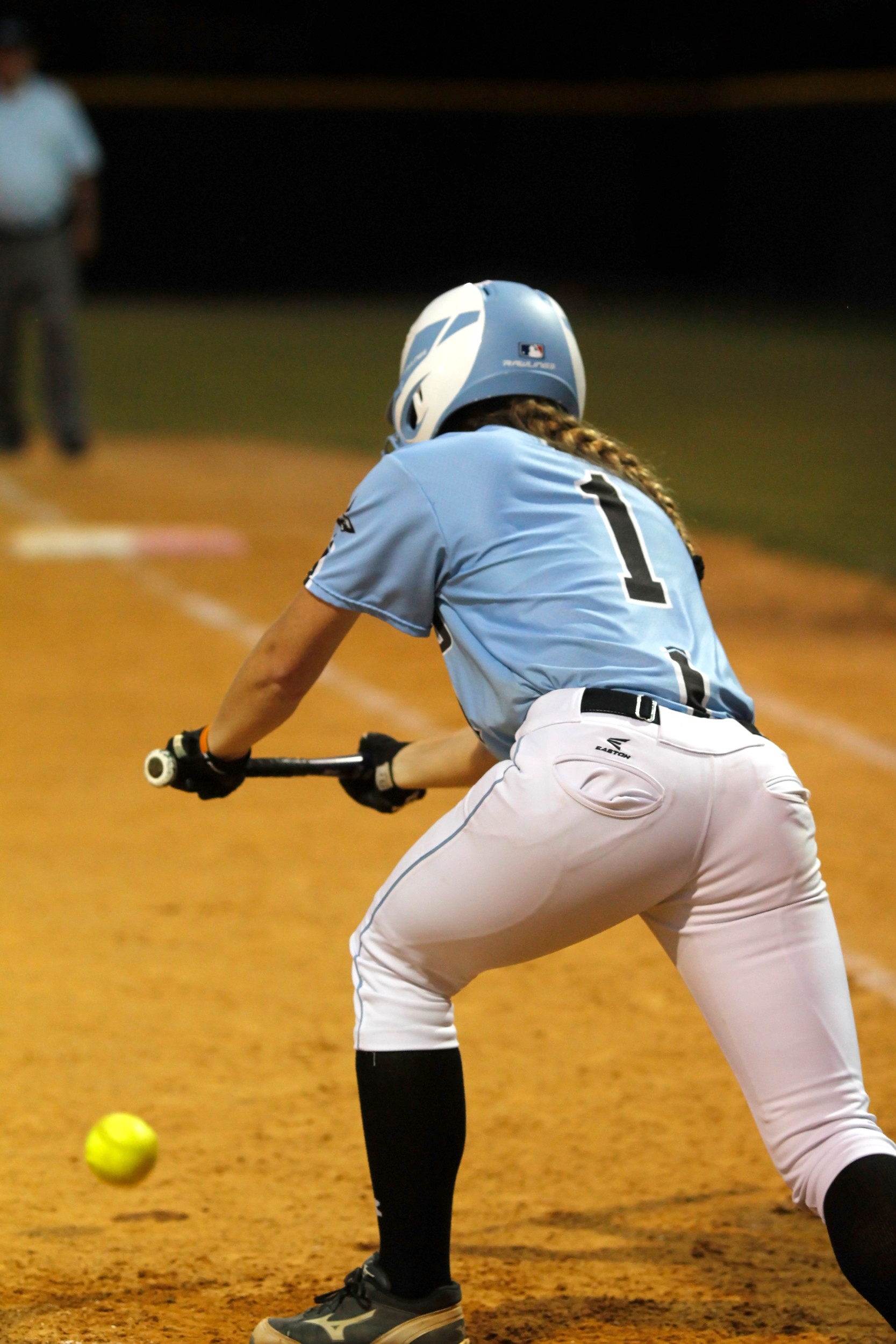 #1 Bailey Wagoner bunts to drive in the game winning 15th run for the Sharks against Ridgeview.