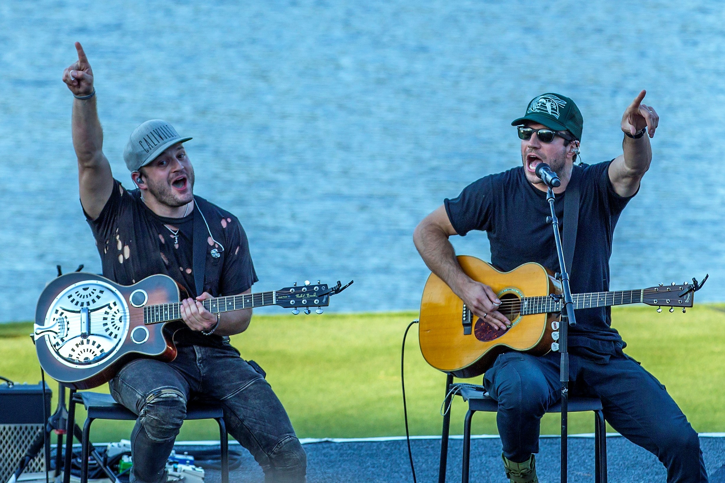 Sam Hunt (right) performs at Military Appreciation Day