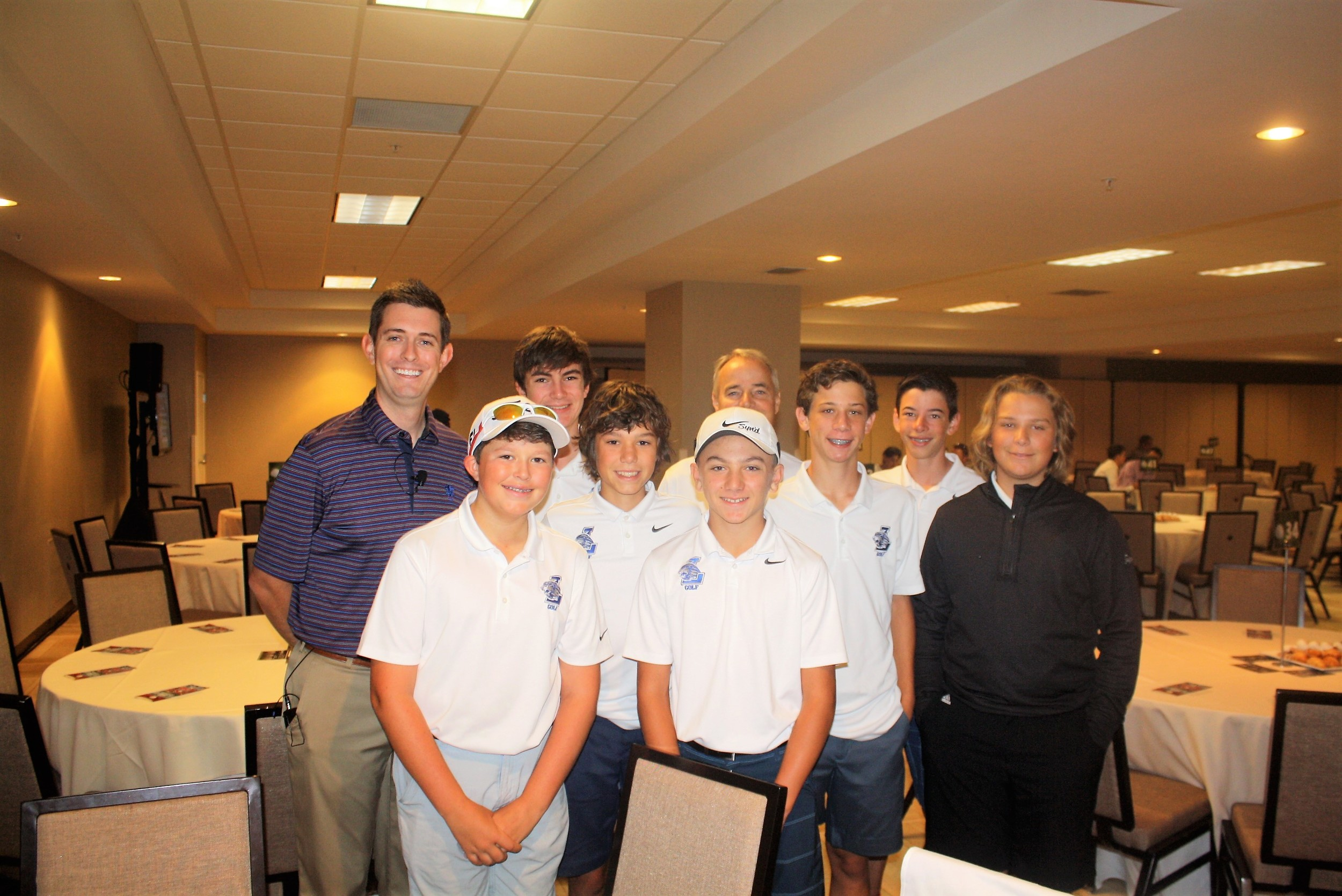 "Landrum Middle School's golf team was represented at the FCA Golf Jax ""Breakfast with the Pros."" Front: Thomas Cush, Stefan Madaffari, Lucas Slayden, Jonathan Greco and Luke Calamari. Back: FCA Golf Jax Director Matt Roop, Carter Lewis, Coach Scot Maxwell and Colin Lytle."