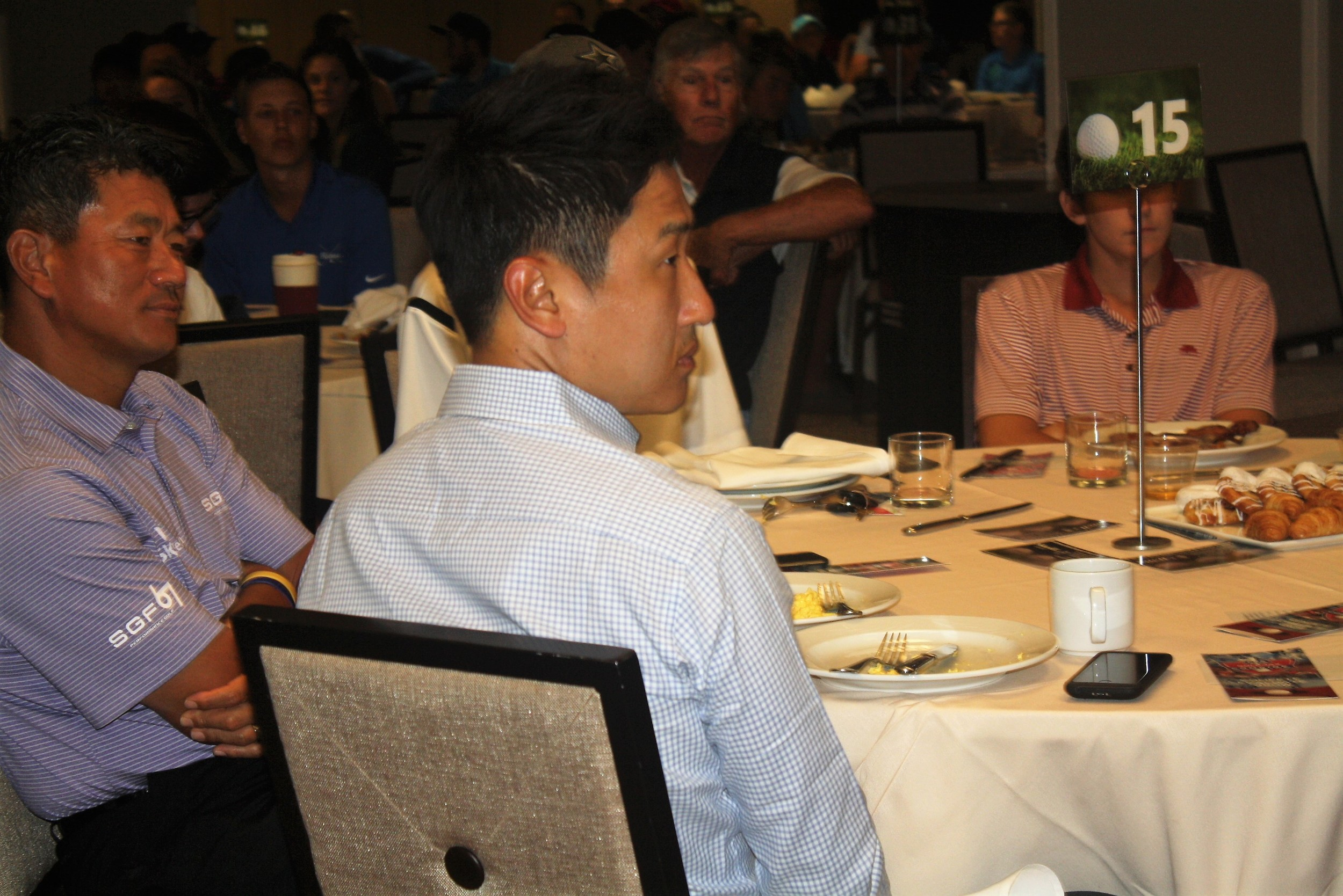 PGA Tour Champion KJ Choi (left) attends the Breakfast with the Pros.