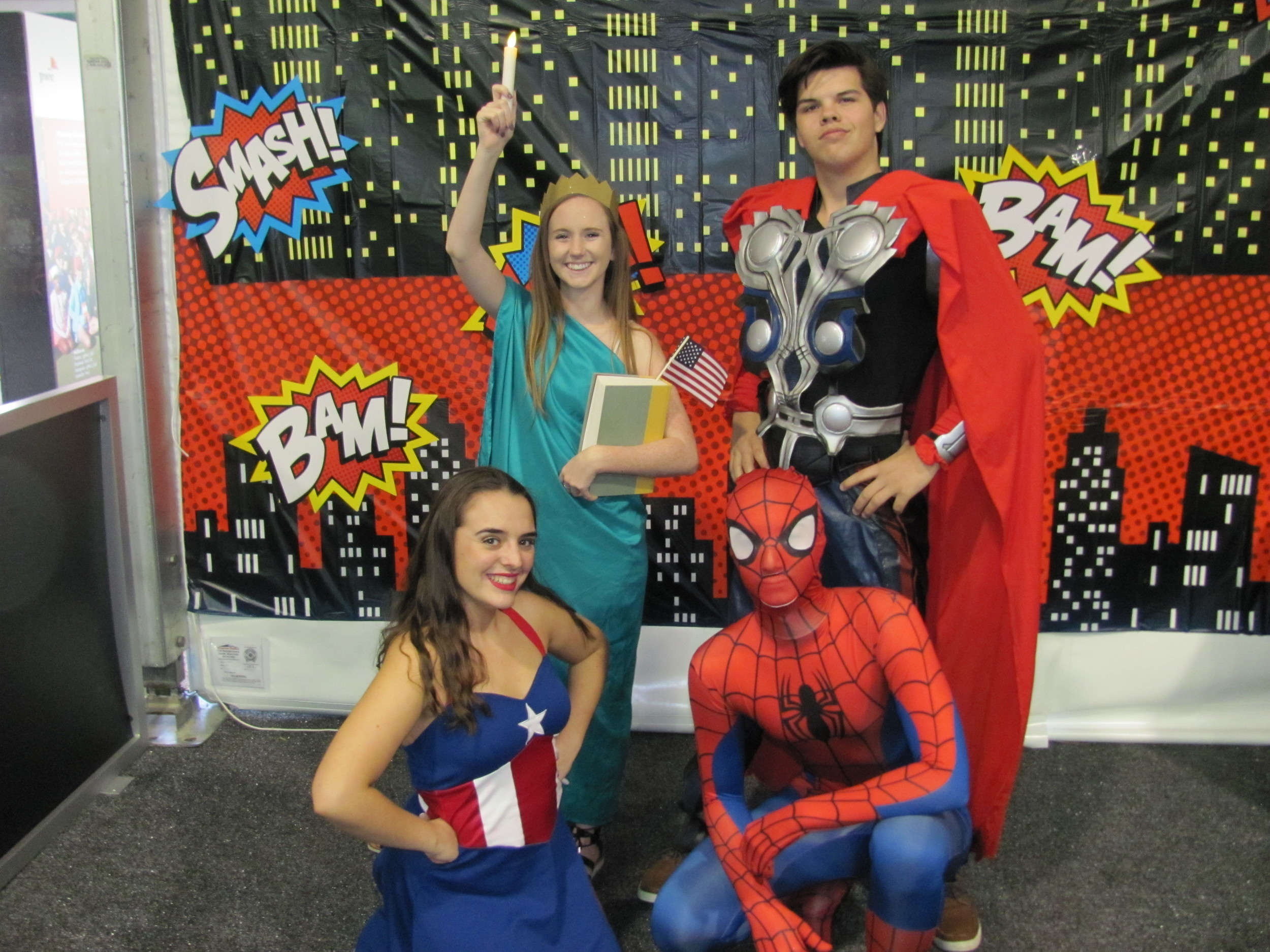 "Ponte Vedra High School drama students Addie Spencer, Maria Gaynor, Nick Dondero and Ty Lewin act as superheroes at ""These Kids Can Play."""