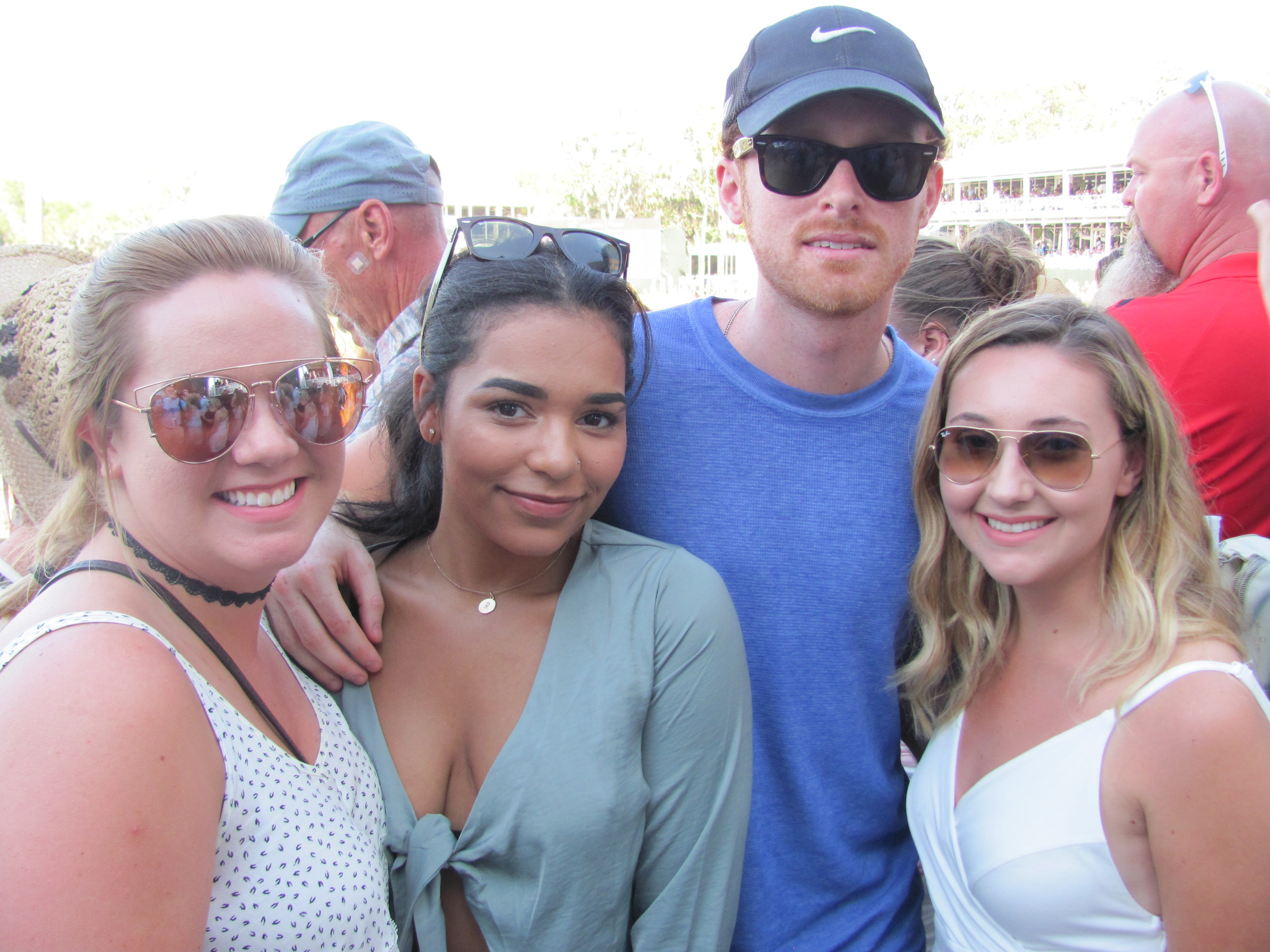 Hanna Tidwell, Reilly Gjesdahl, John Coleman and Grace Fiumefreddo gather before the Sam Hunt concert.