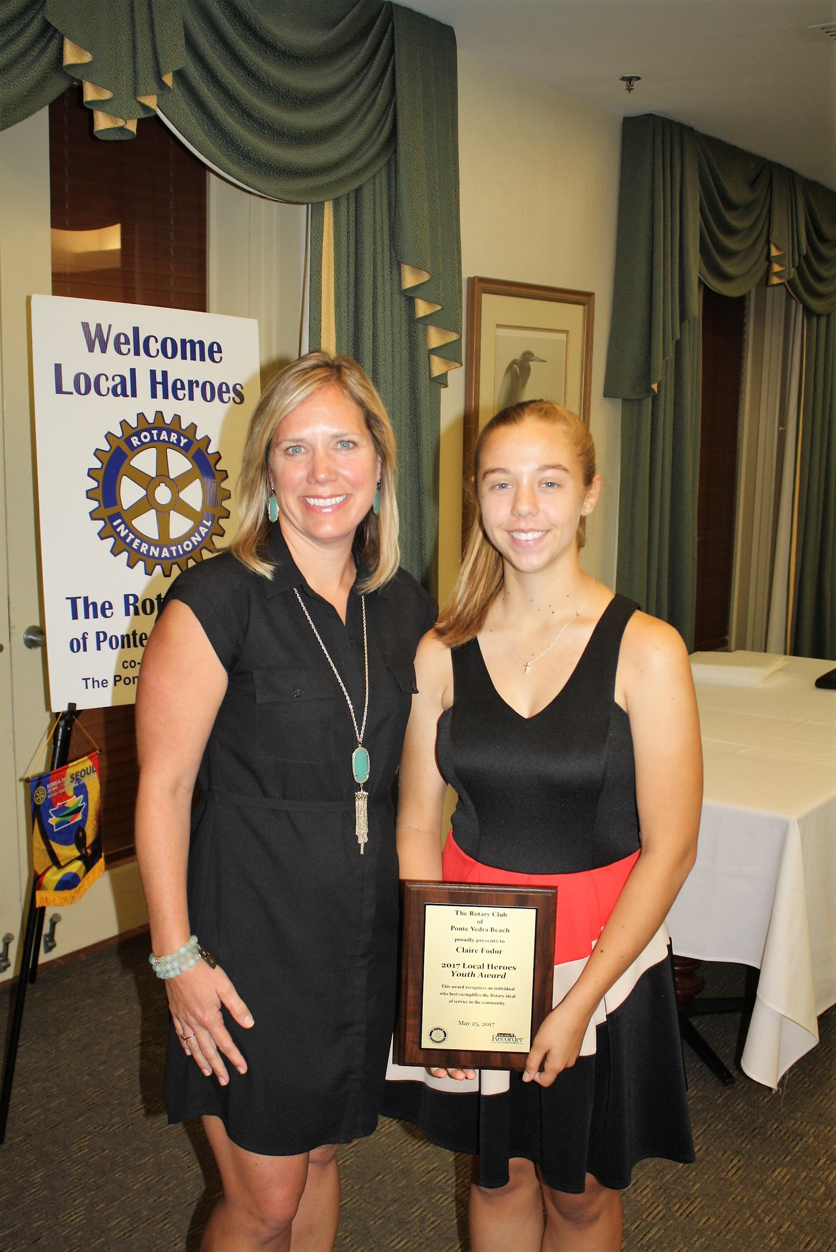 Ocean Palms Principal Jessica Richardson with Local Heroes Youth Award recipient Claire Fodor