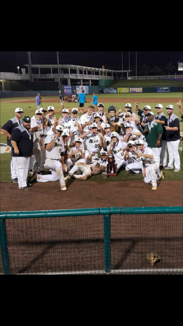 The Nease baseball team gathers around its state championship trophy after defeating King High School, 11-0.