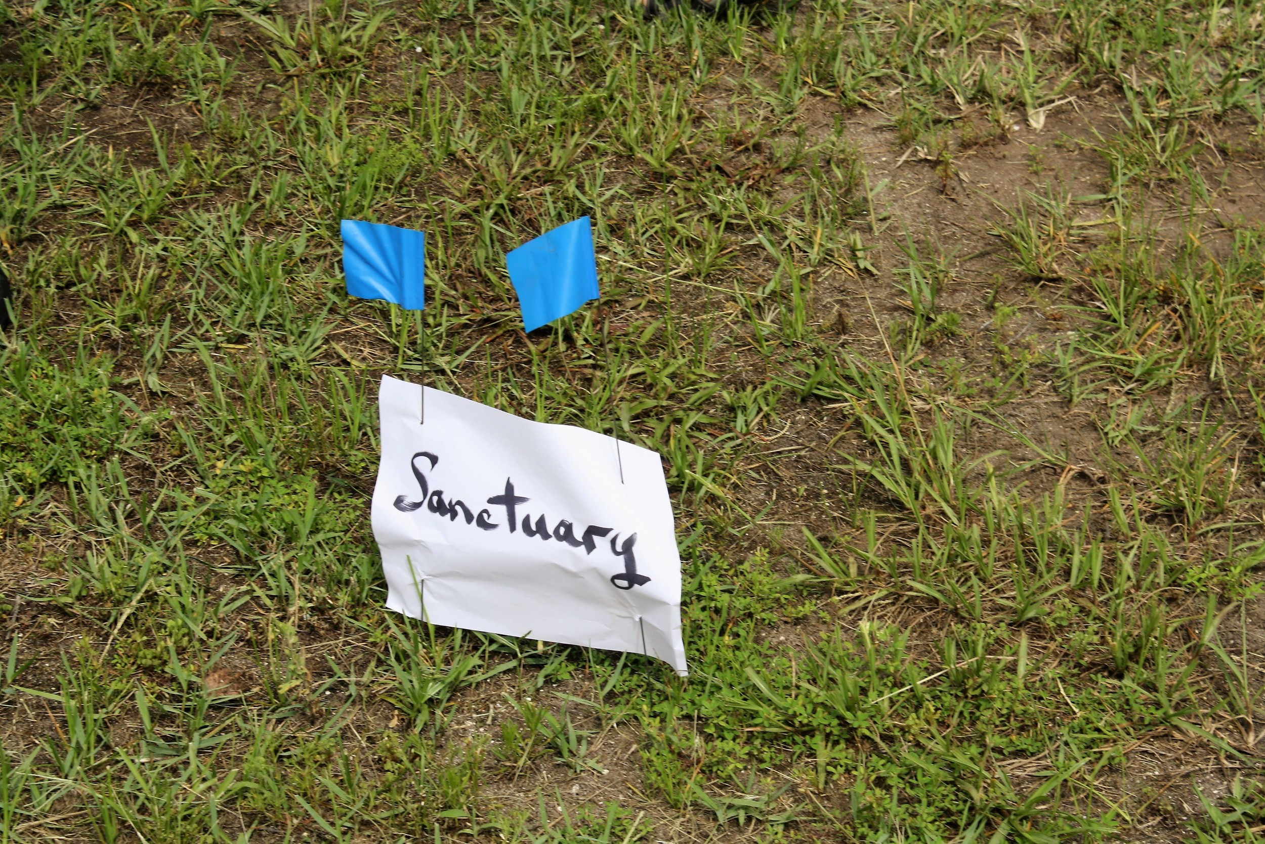 A stake marks the spot where Lord of Life Lutheran Church's new sanctuary will be.