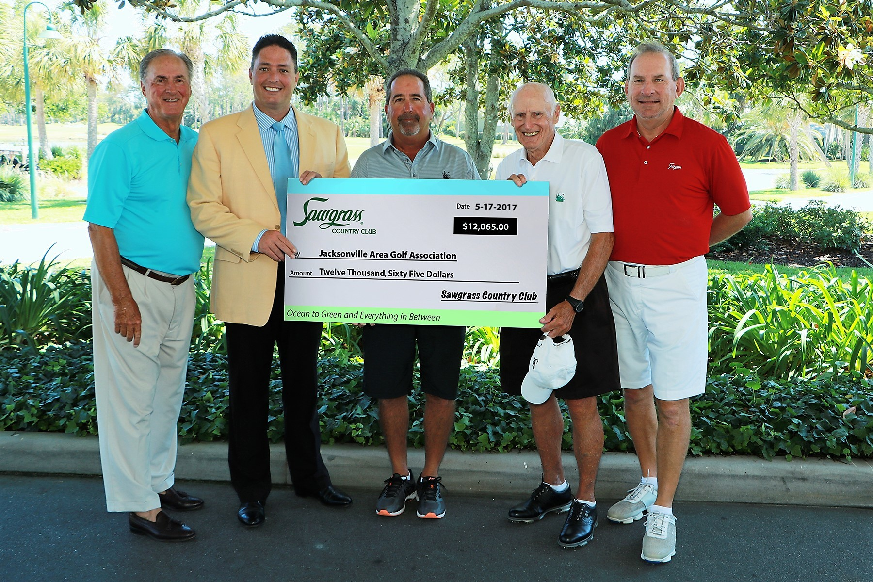Leedom Kettell, president, Sawgrass Country Club Board of Governors; Barry McDonald, general manager and COO; and JAGA directors Randy Nader, Ray Gottschalk and Gregg Deiboldt.