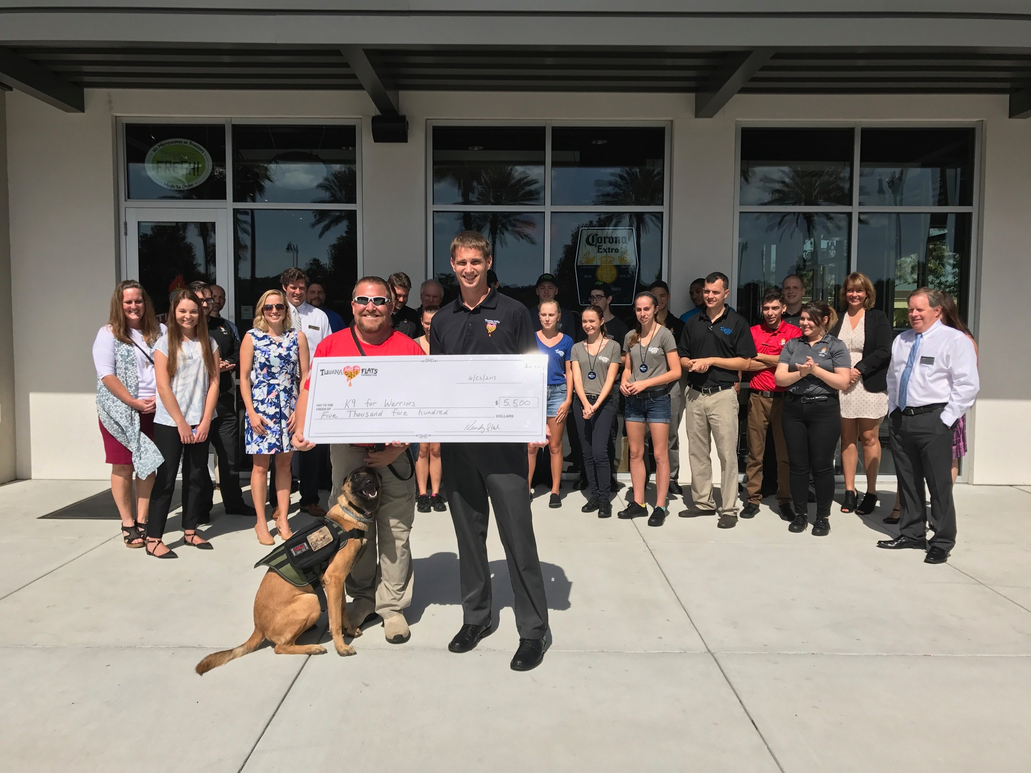 Tijuana Flats presents a $5,500 donation to K9s for Warriors.