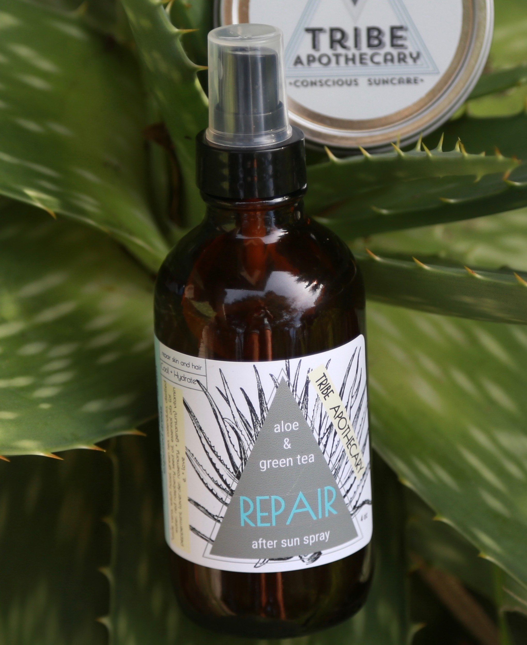 Aloe and green tea after-sun spray from Tribe Apothecary