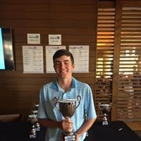 Carter Lewis of Ponte Vedra Beach displays his trophy after winning the PGA West Junior Open in the boys 14-15 age group at the Jack Nicklaus Tournament Course at PGA West. Lewis shot a 75 on Saturday, July 1 and an 81 on Sunday, July 2, which gave him a four-shot victory over his competitor.