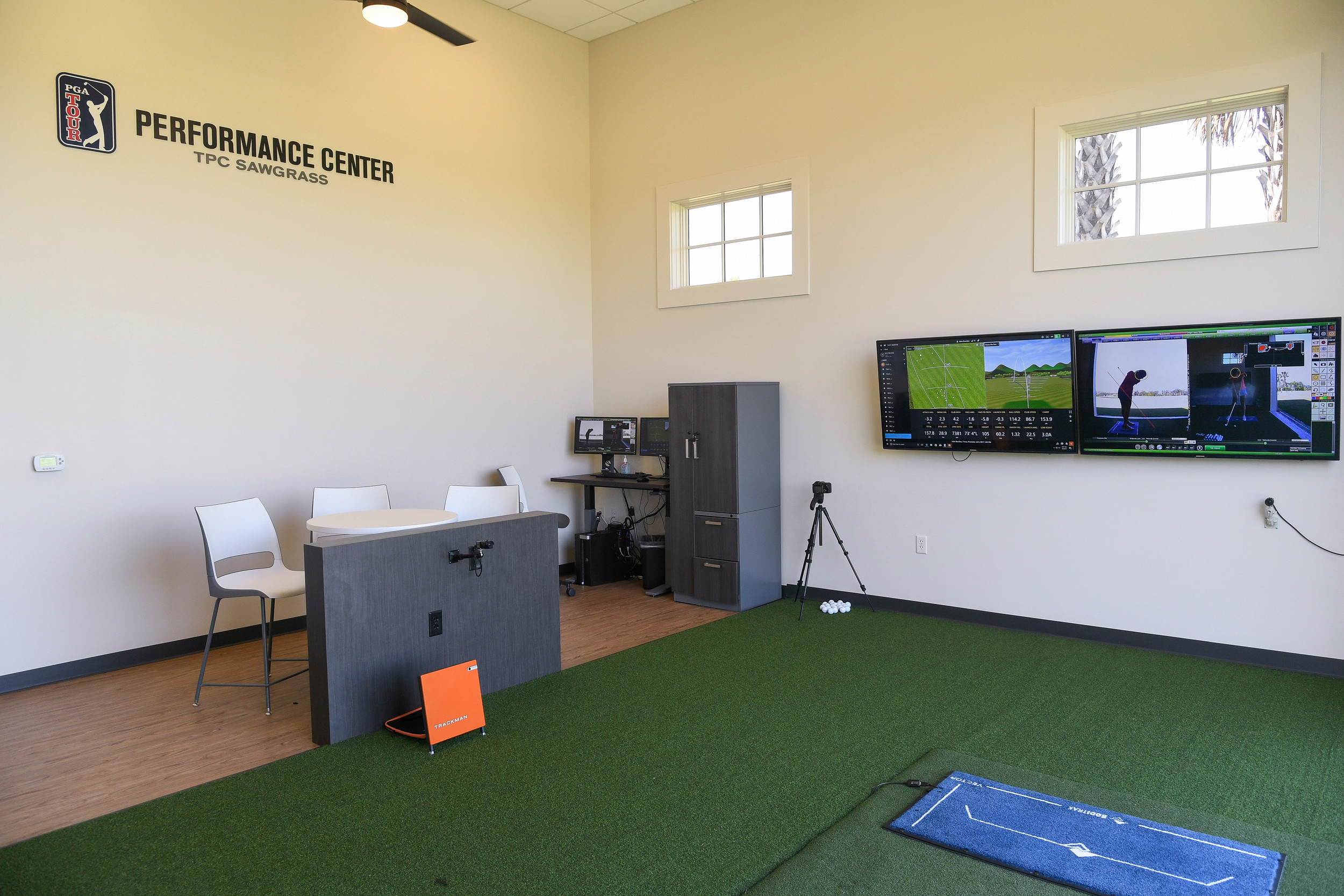 The performance center's hitting bays feature state of the art technology to help students improve their game.