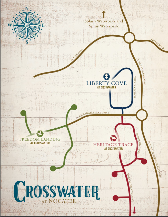 A map of the new Crosswater at Nocatee collection of neighborhoods.