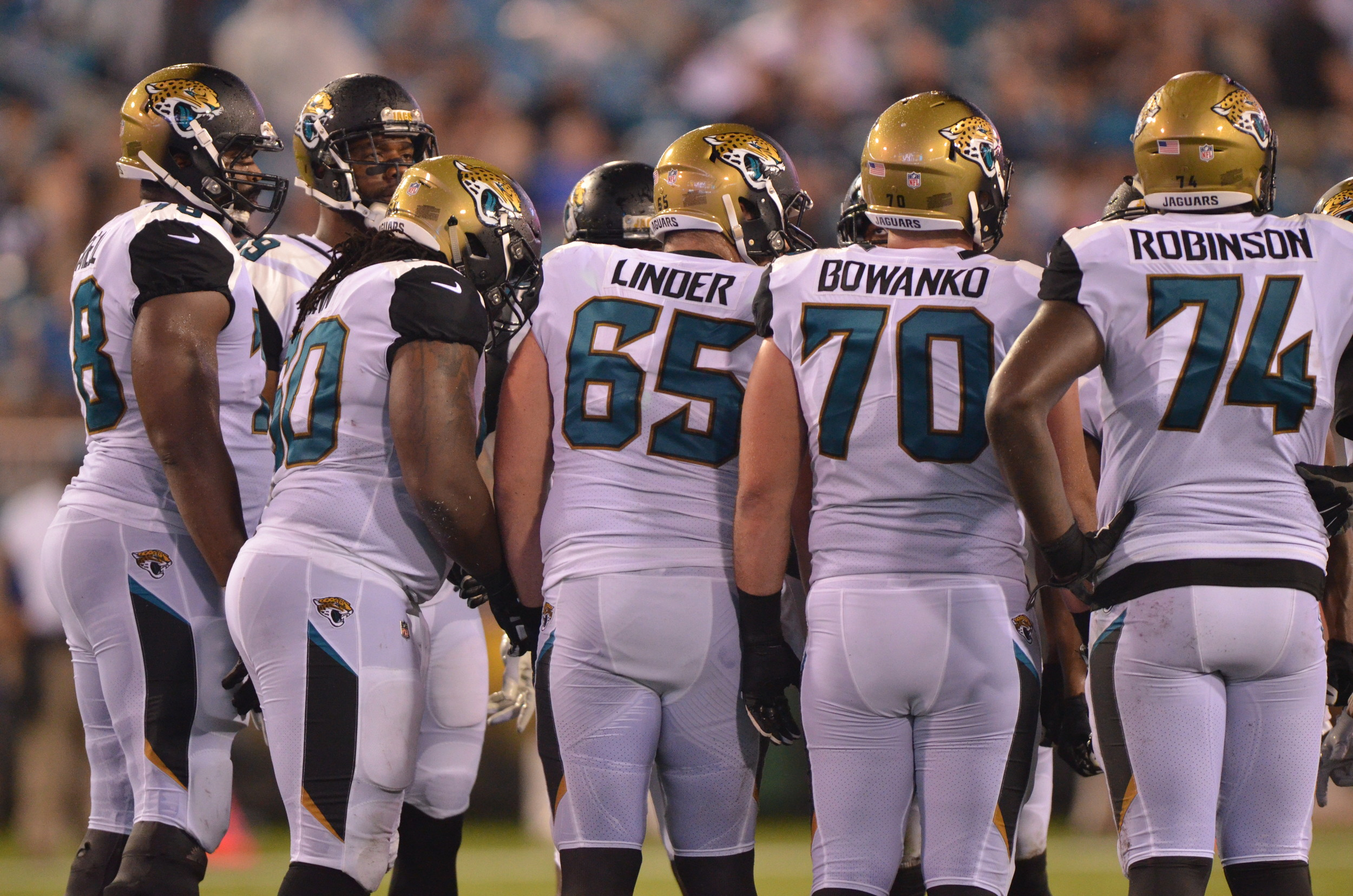 The Jaguars offensive line was responsible for five penalties and allowed three sacks on quarterback Chad Henne in the preseason loss to the Panthers.