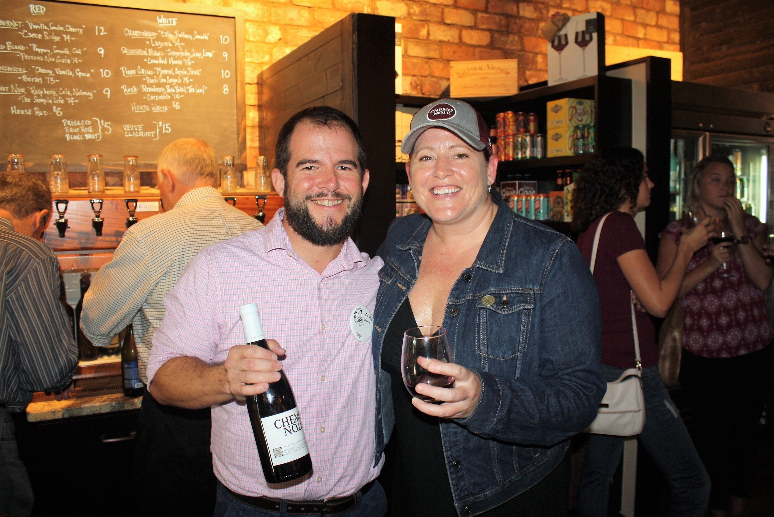 Coastal Wine Market & Tasting Room Co-owner Steve Lourie gathers with Chemo Noir Founder and Chairman Katrin Casey.