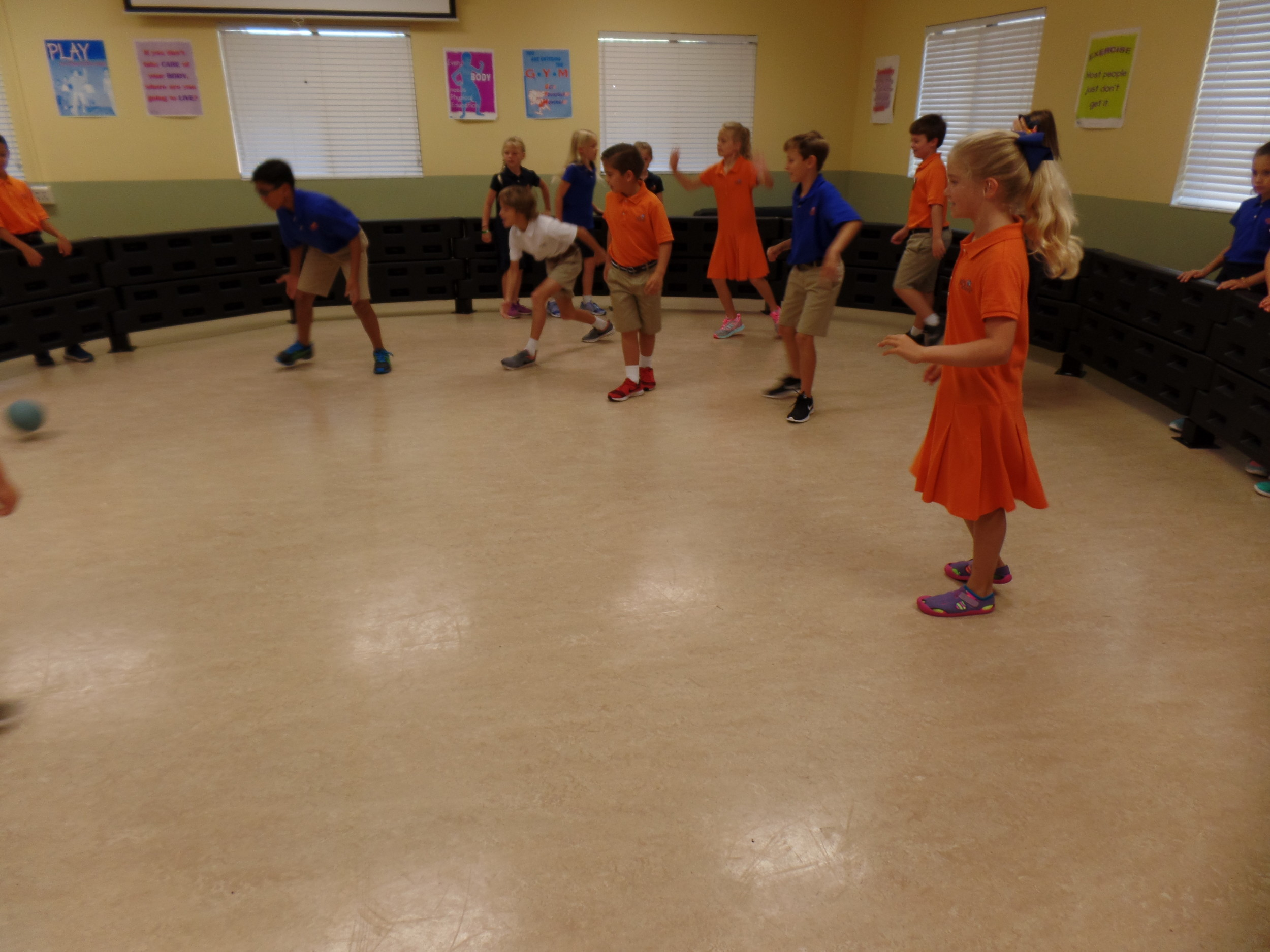 Students at the Bolles Ponte Vedra Beach Campus play a game of gaga ball in the school's multipurpose room.