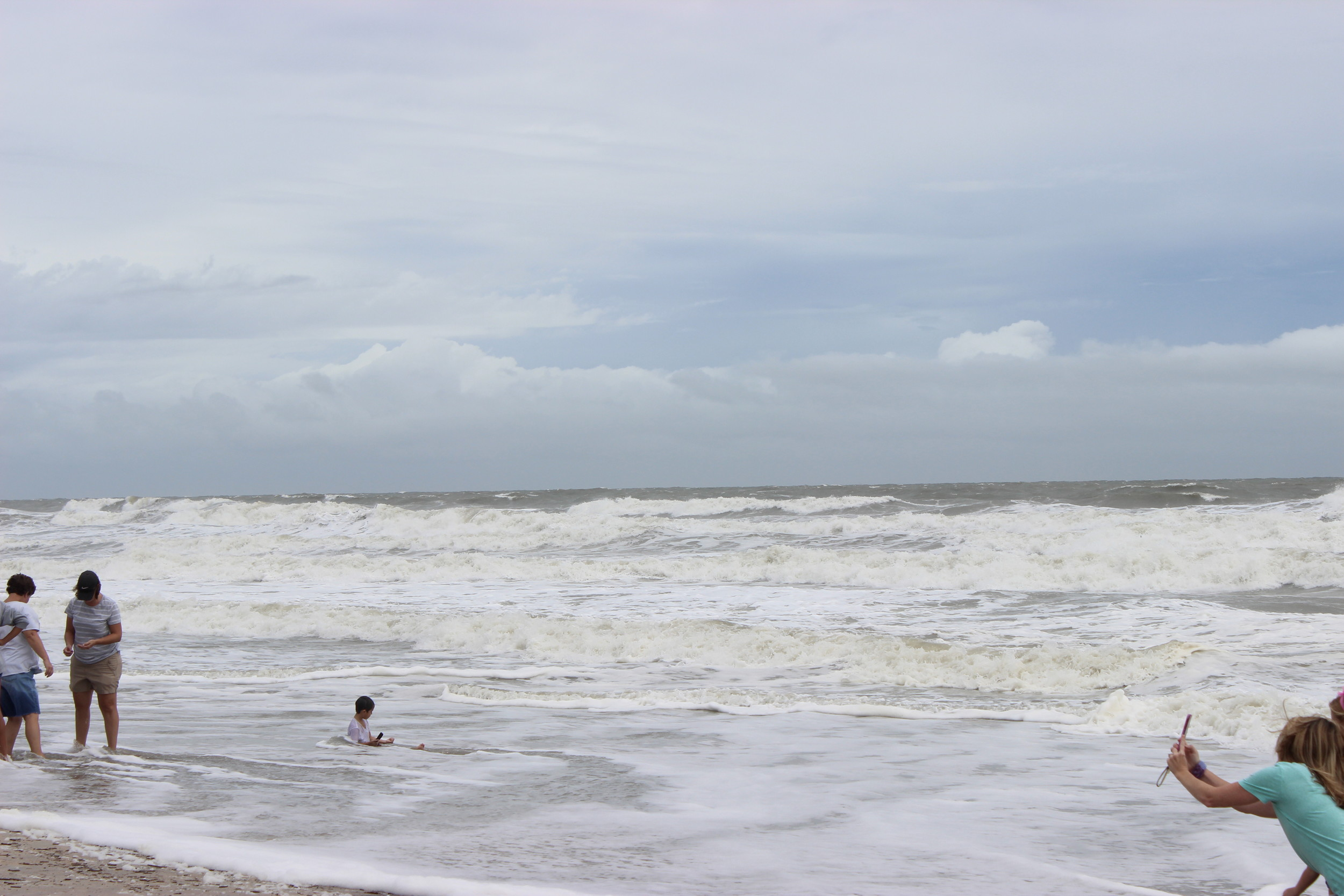 Locals brave poor weather conditions to witness Hurricane Irma roll in at Vilano Beach.