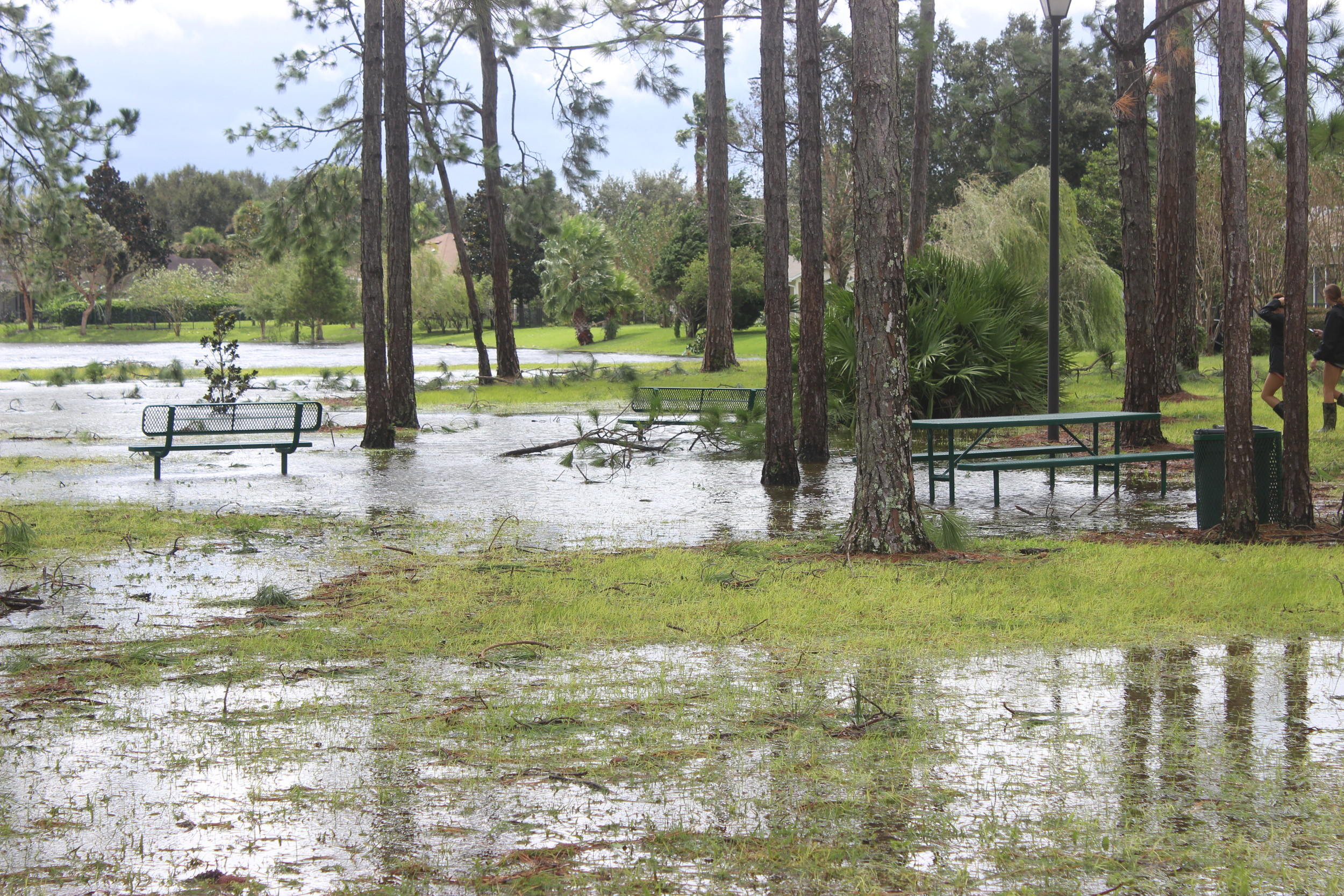 A park at Walden Chase is flooded by the storm.