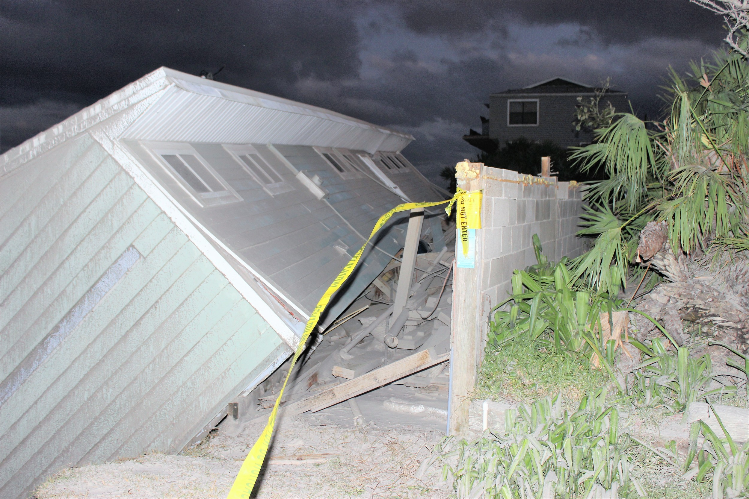 A home collapses in Vilano Beach due to erosion from Hurricane Irma.