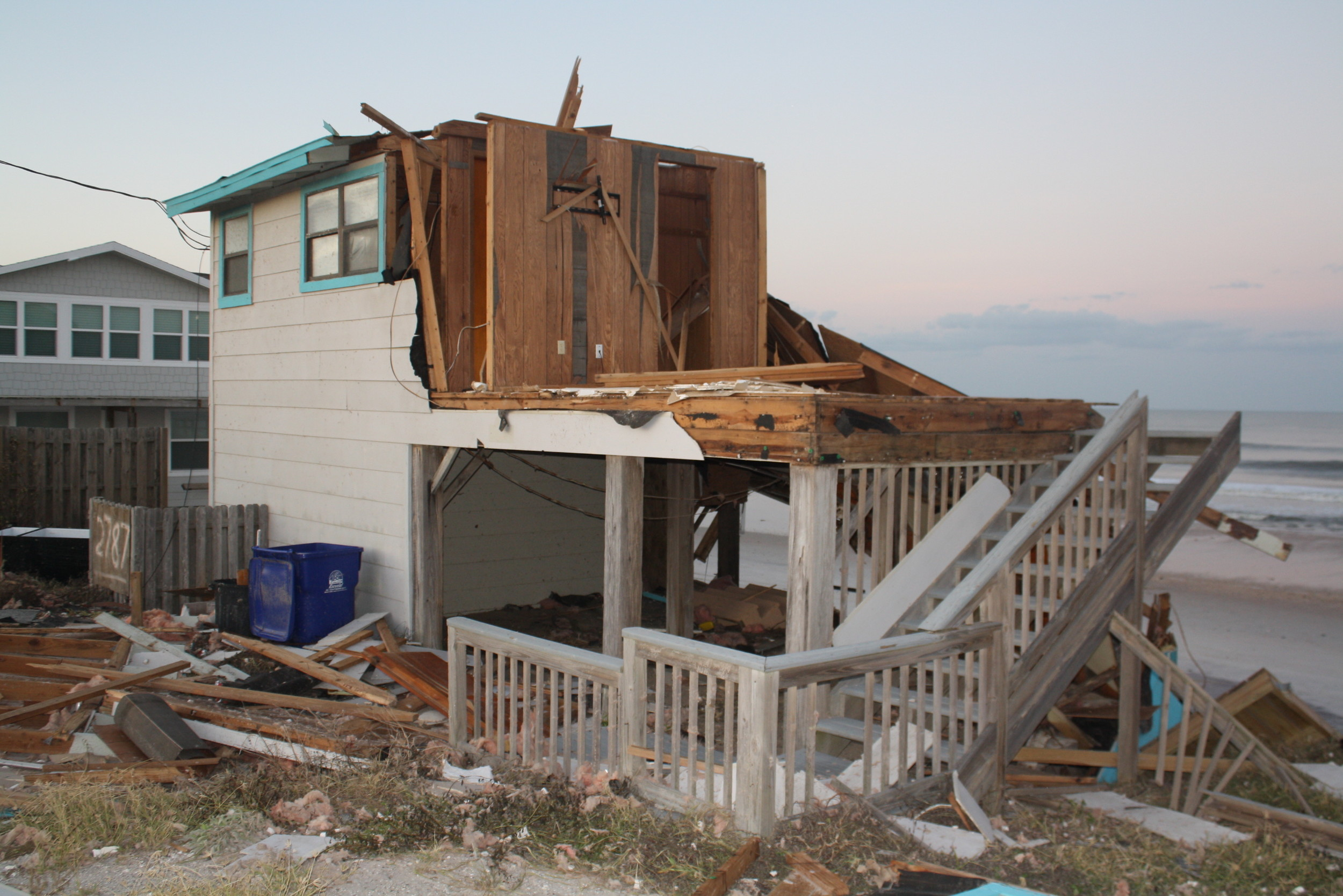 A house on A1A in South Ponte Vedra Beach lays in ruins on the shore.