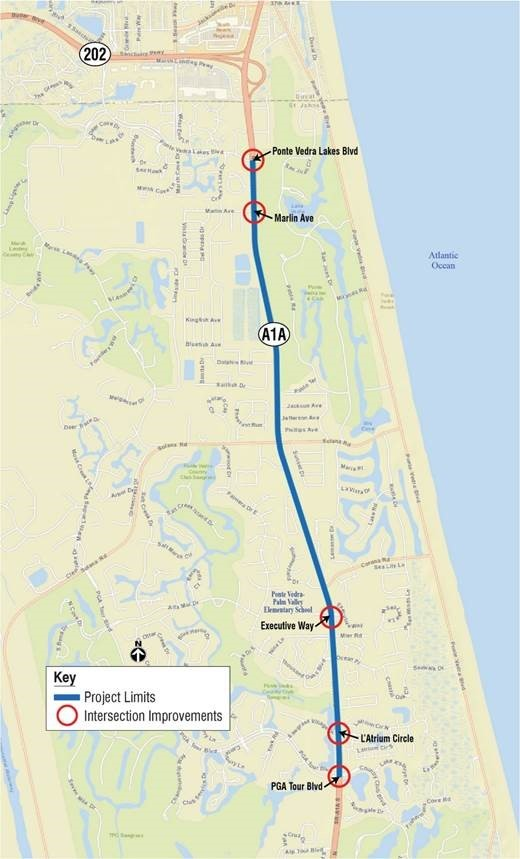 A map displays the locations of five intersections on A1A in Ponte Vedra that will soon undergo traffic signal and crosswalk improvements.