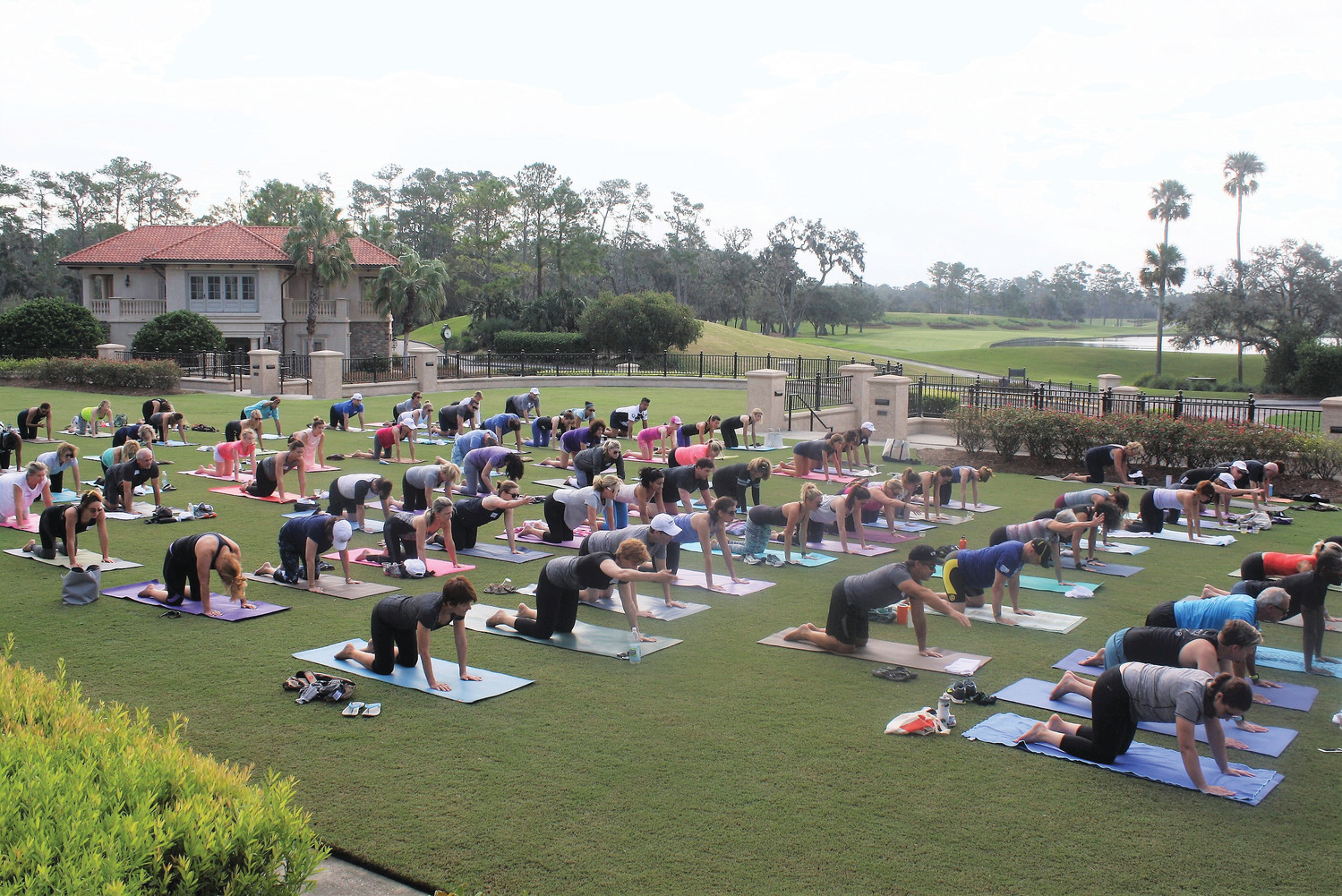 Local yoga enthusiasts participate in a Yoga With Heart fundraiser benefitting Volunteers in Medicine at TPC Sawgrass Sept. 23.
