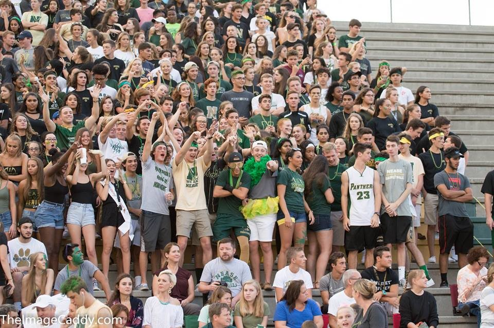 Nease students cheer on their team during the homecoming game against Creekside on Friday night.