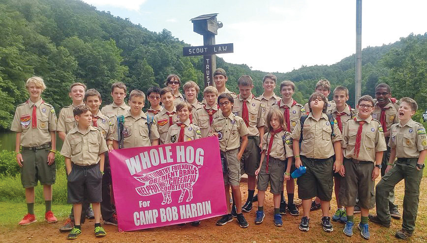 Boy Scout Troop 288 gathers at Camp Bob Hardin in Blue Ridge Mountains this summer.