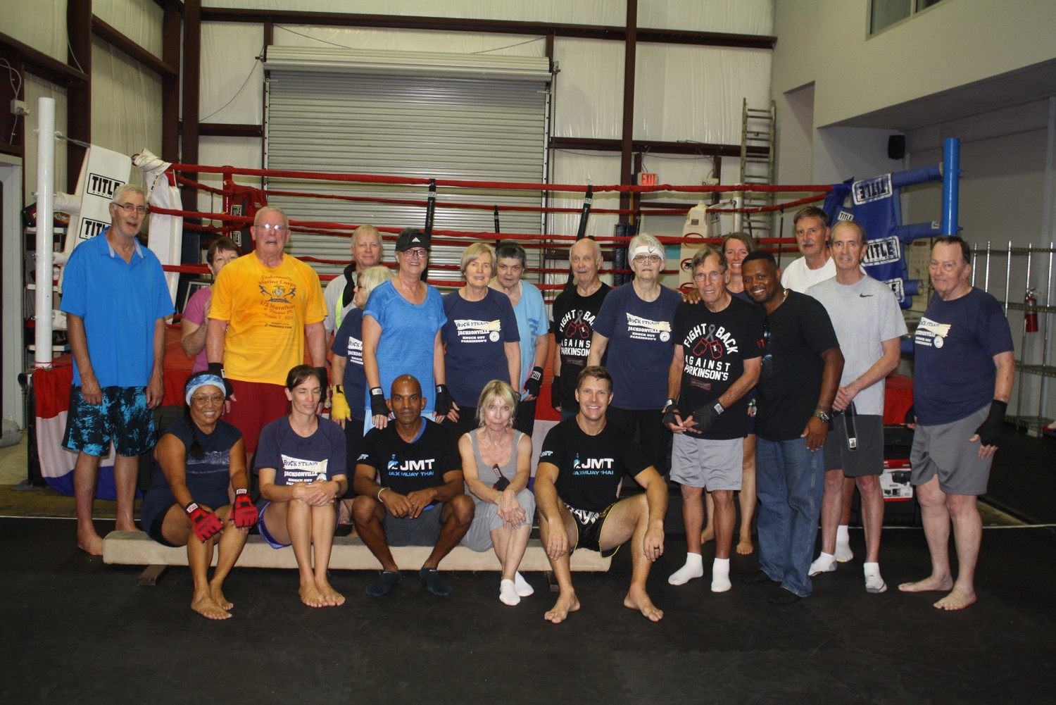 Rock Steady Boxing Jacksonville gathers after a training session.