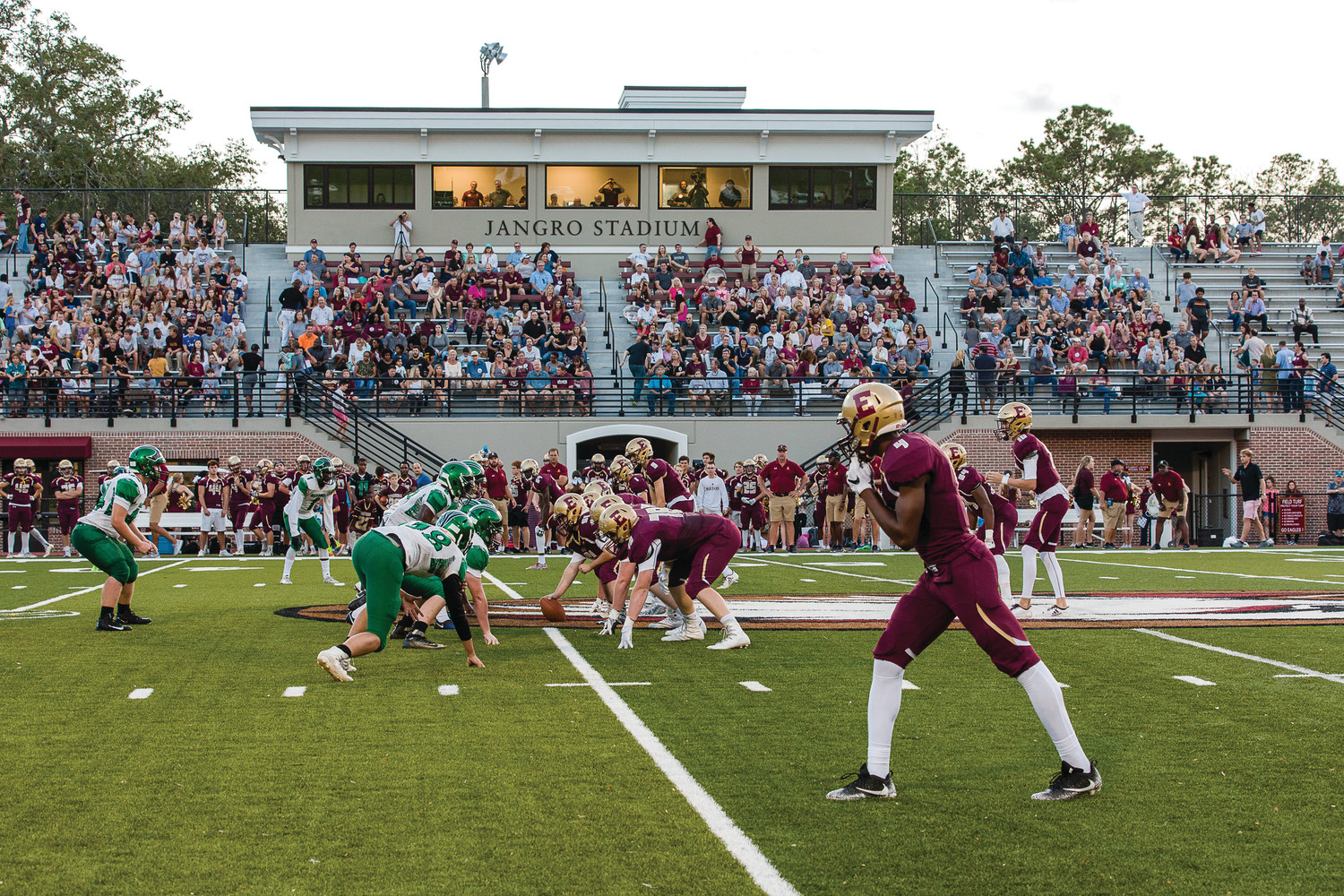 Episcopal takes on Eagle's View in its home opener on Sept. 22 at the newly renovated Jangro Stadium, which was dedicated to the Ponte Vedra Beach family during halftime of the game.