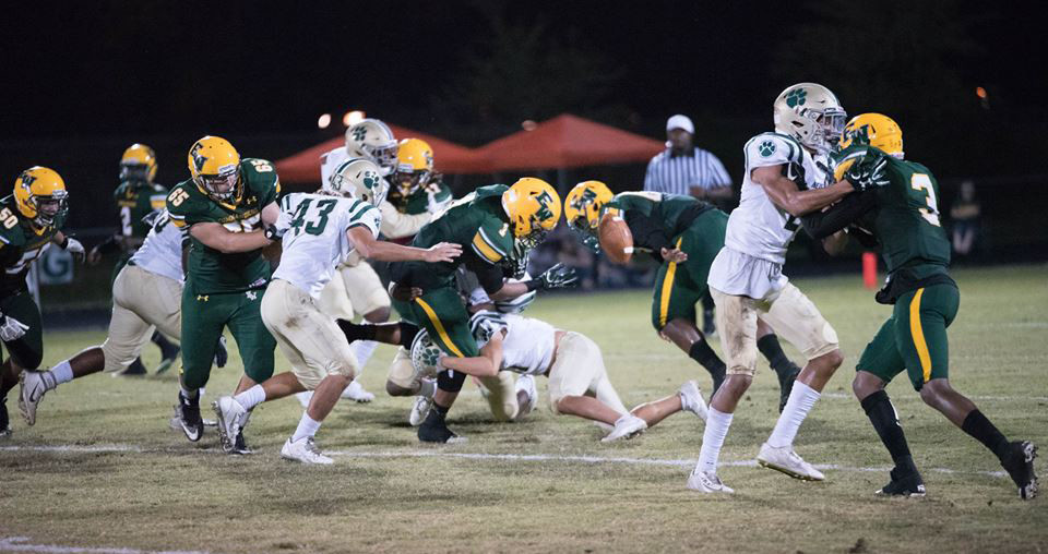 The Nease defense forces a fumble by White running back Caleb Steward.