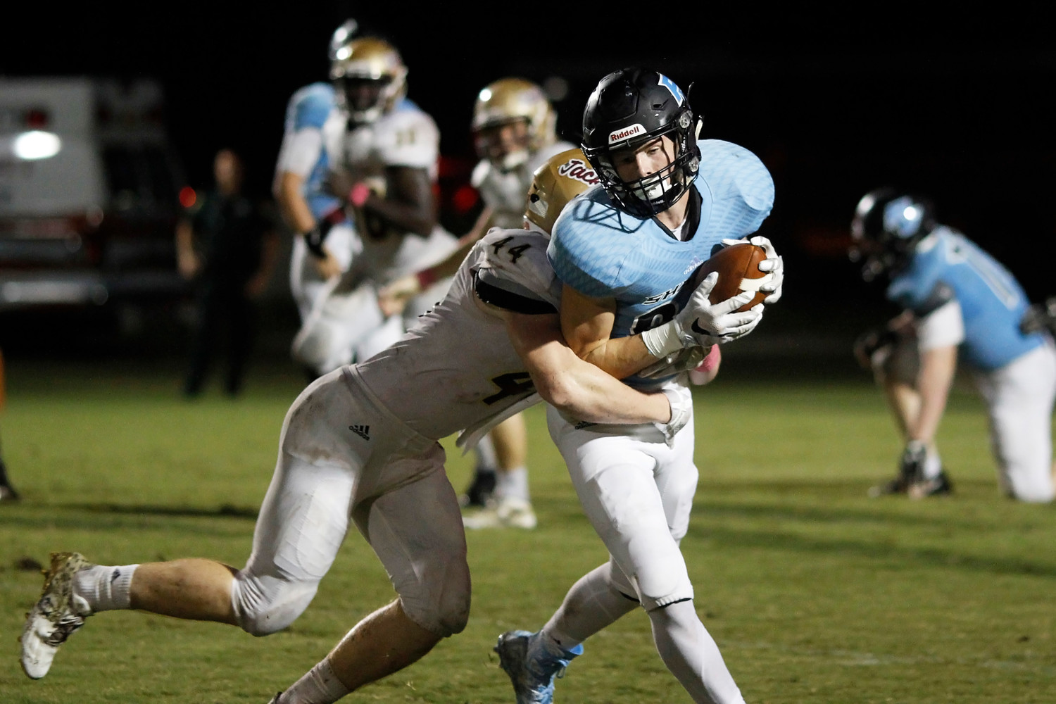 Reese Russi of Ponte Vedra is tackled after catching a Jack Murrah pass.