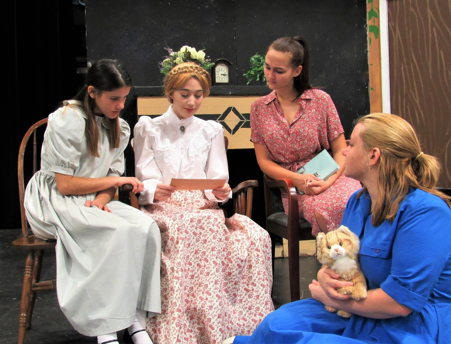 "Nease High School theater students will present a production of the family-friendly play ""I Remember Mama"" Thursday, Oct. 19 through Sunday, Oct. 22 in the school's Performing Arts Center. From left:  Alex O'Brien, Katie Logue, Alexandra Hudson and Karilyn Jakobs."
