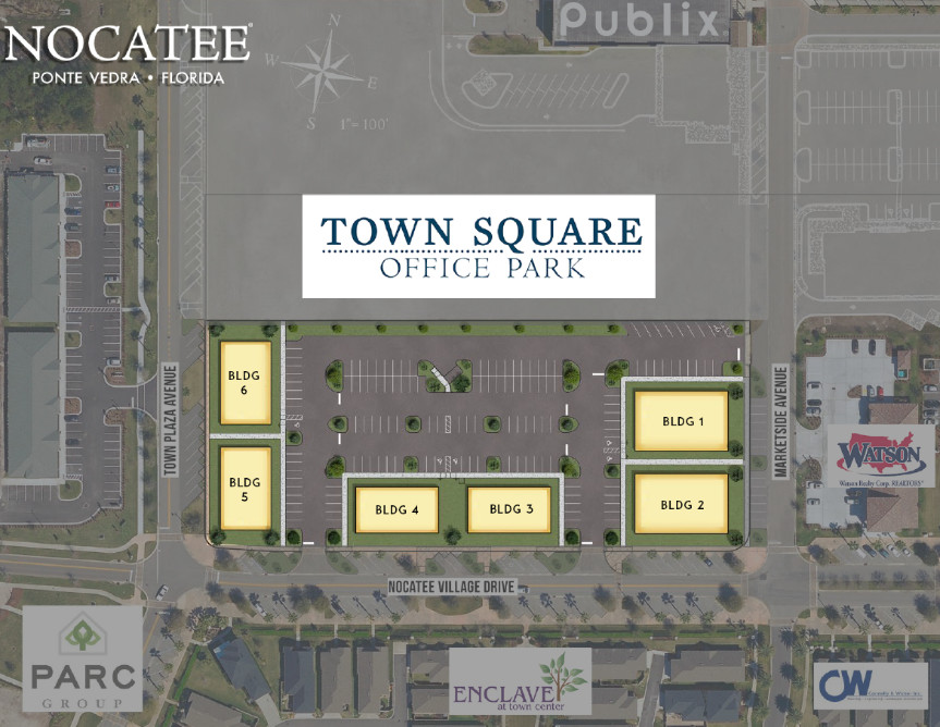 Town Square Office Park will include 6 pads for small businesses that want to own the land and the building.