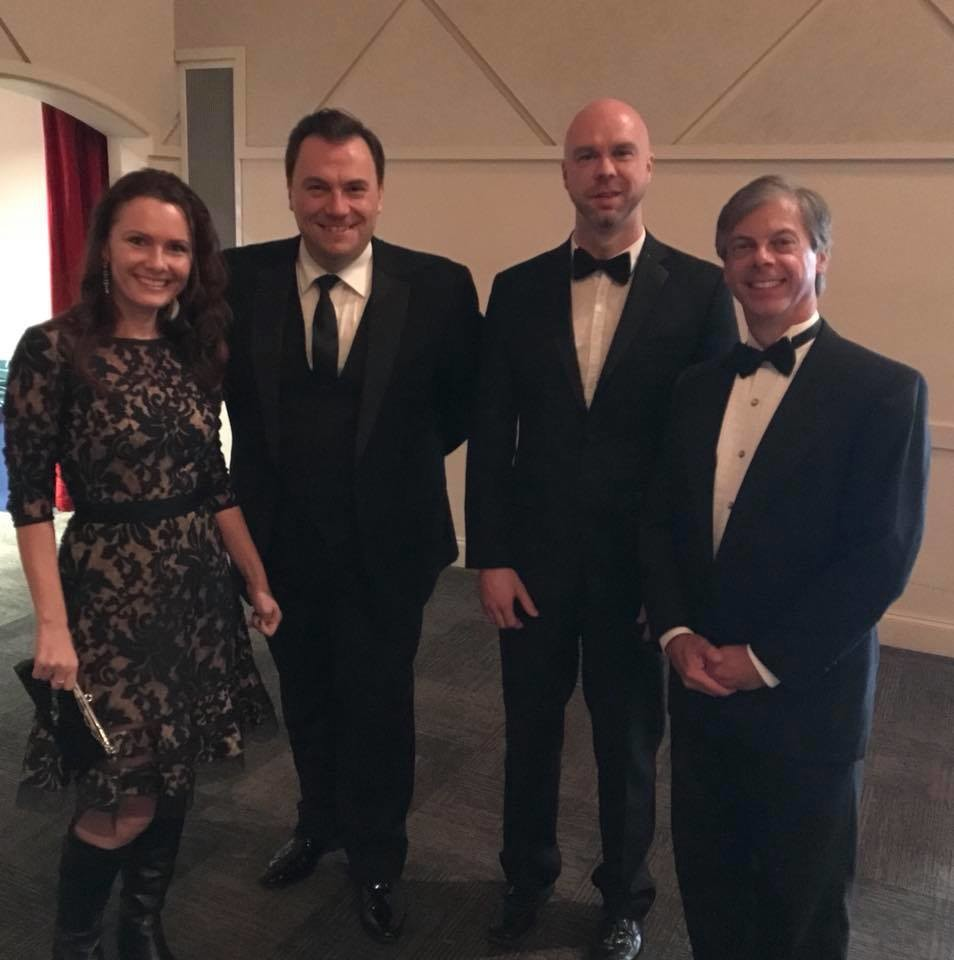 First Coast Opera Board of Directors member Andreea Vineyard, baritone Ron Loyd, music director and pianist Keith Chambers and First Coast Opera Artistic Director Curtis Tucker gather at the Ponte Vedra Concert Hall.